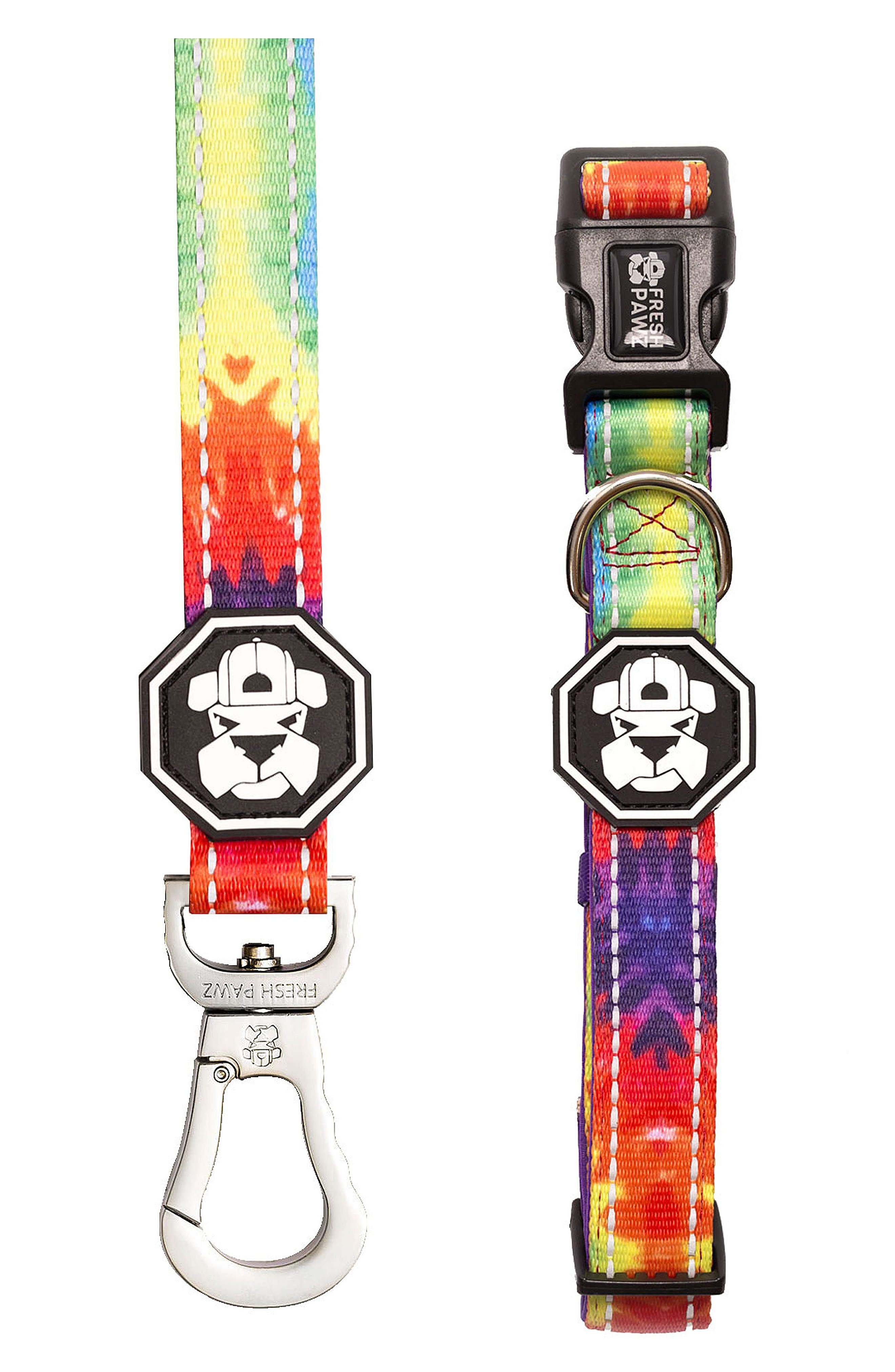 Leash and Collar Set,                         Main,                         color, Tie-Dye