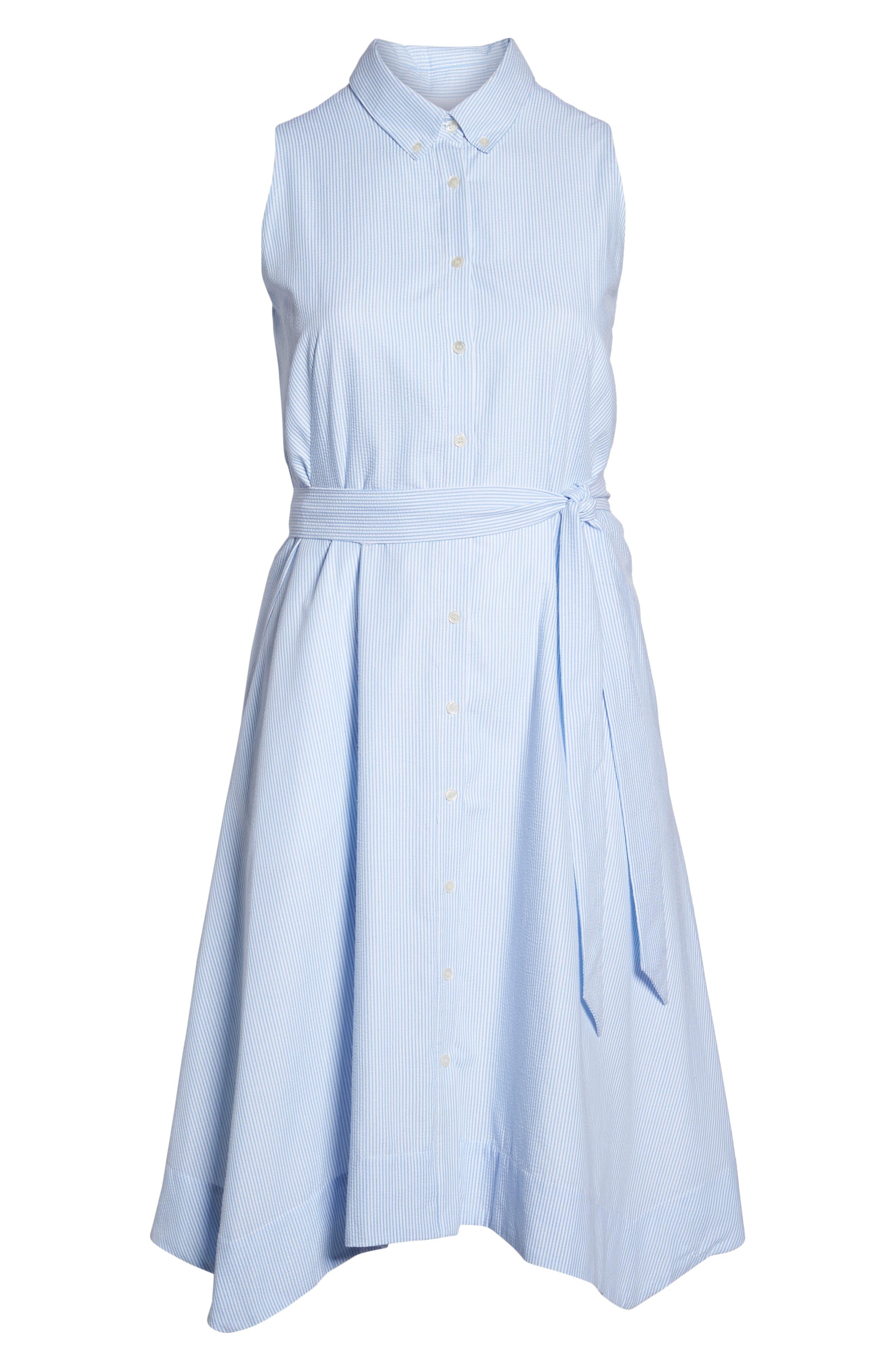 Sleeveless Stripe Seersucker Shirtdress,                             Alternate thumbnail 7, color,                             Blue/ White