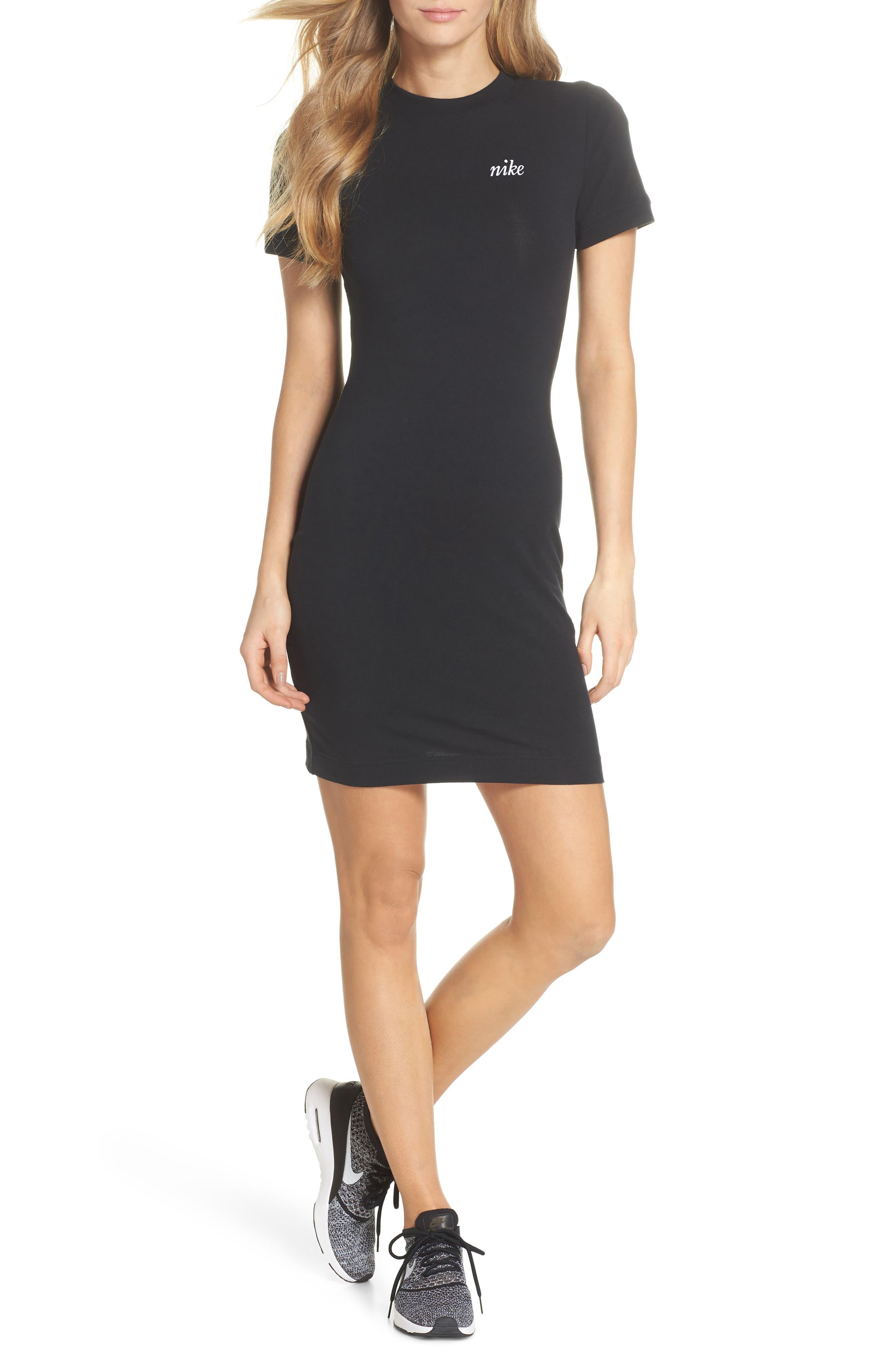 Sportswear T-Shirt Dress,                             Main thumbnail 1, color,                             Black/ White