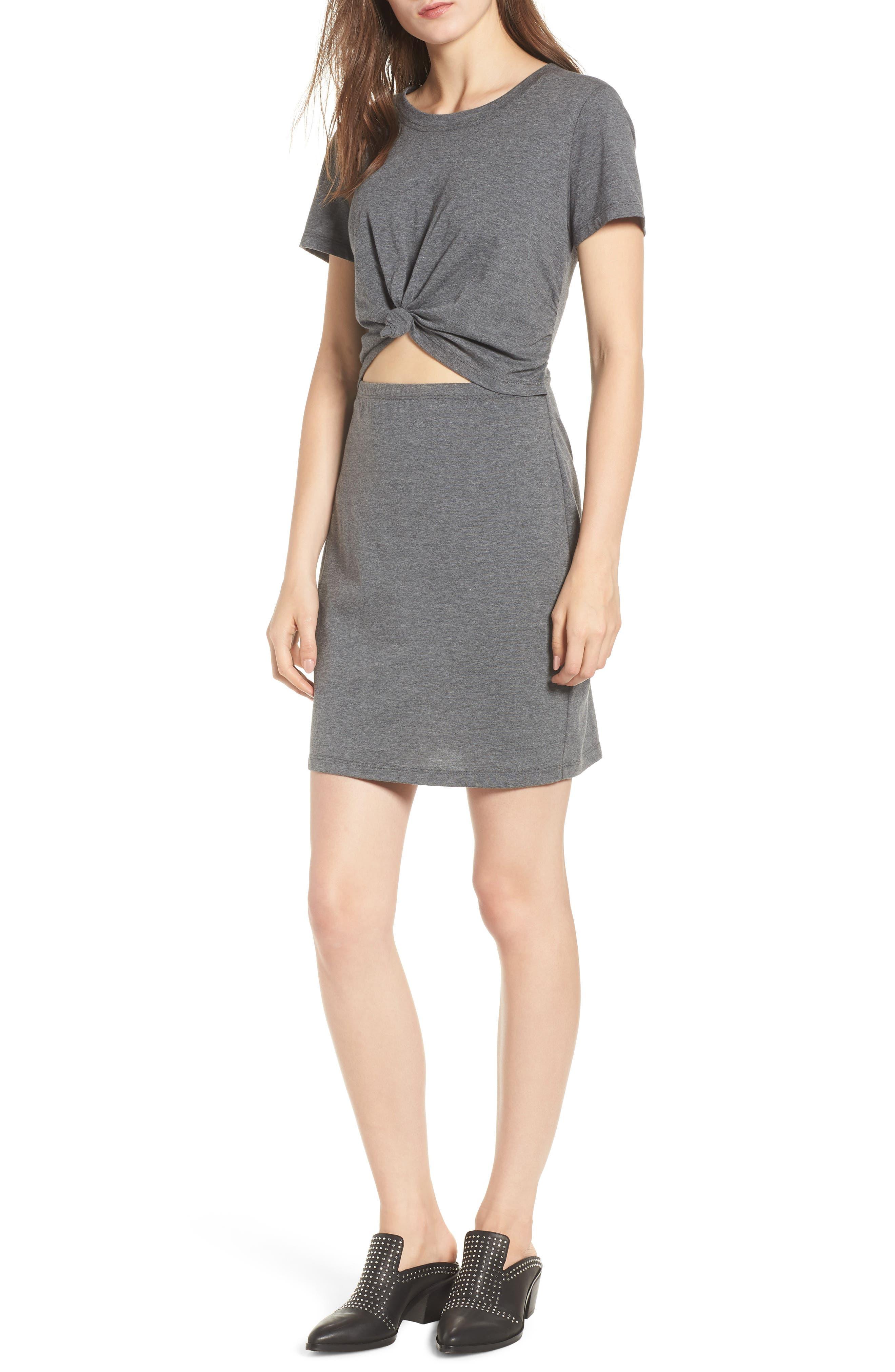 Knot Front Cutout Dress,                         Main,                         color, Heather Grey