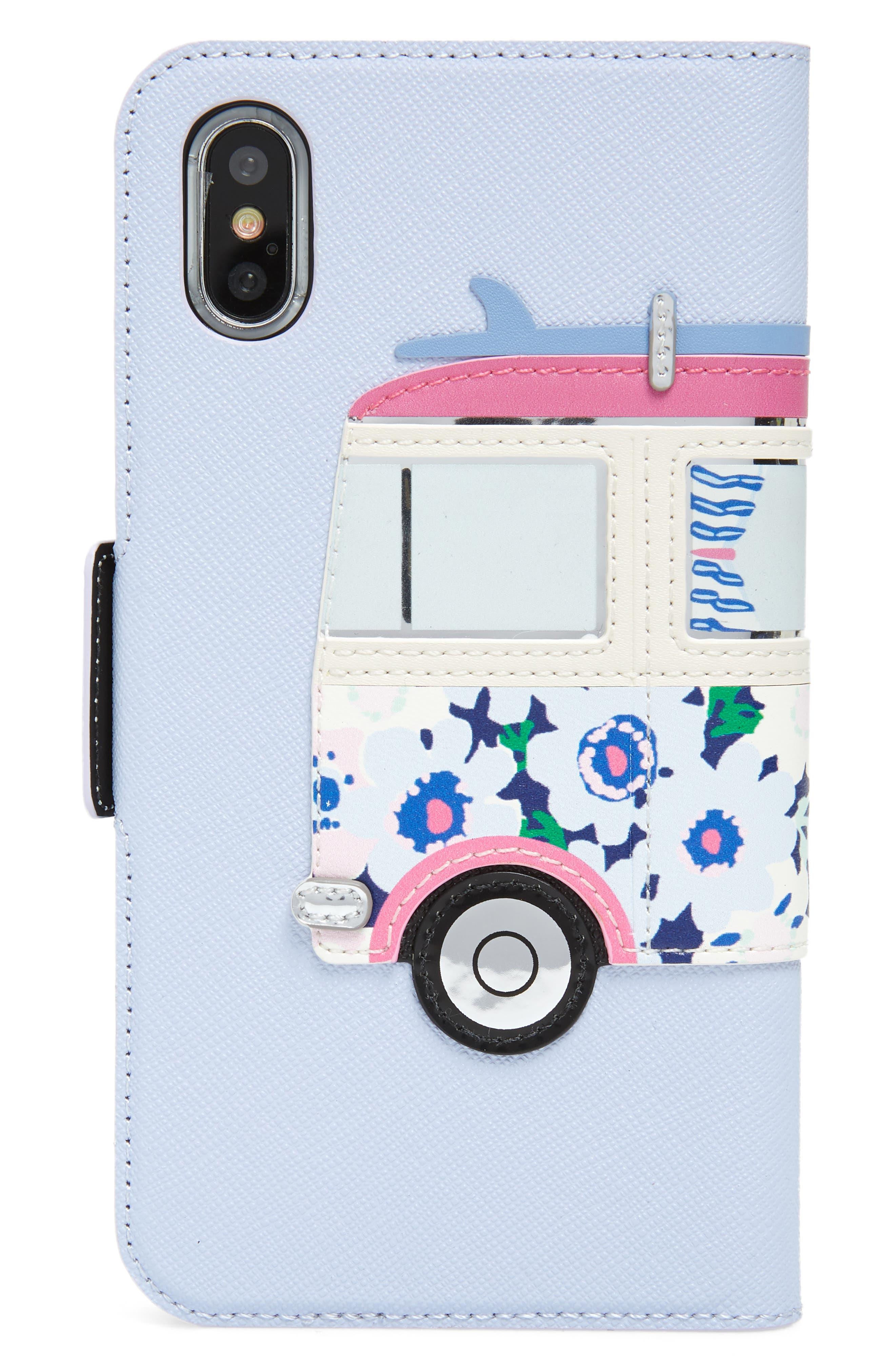 surf van iPhone X leather folio case,                             Alternate thumbnail 2, color,                             Blue Multi