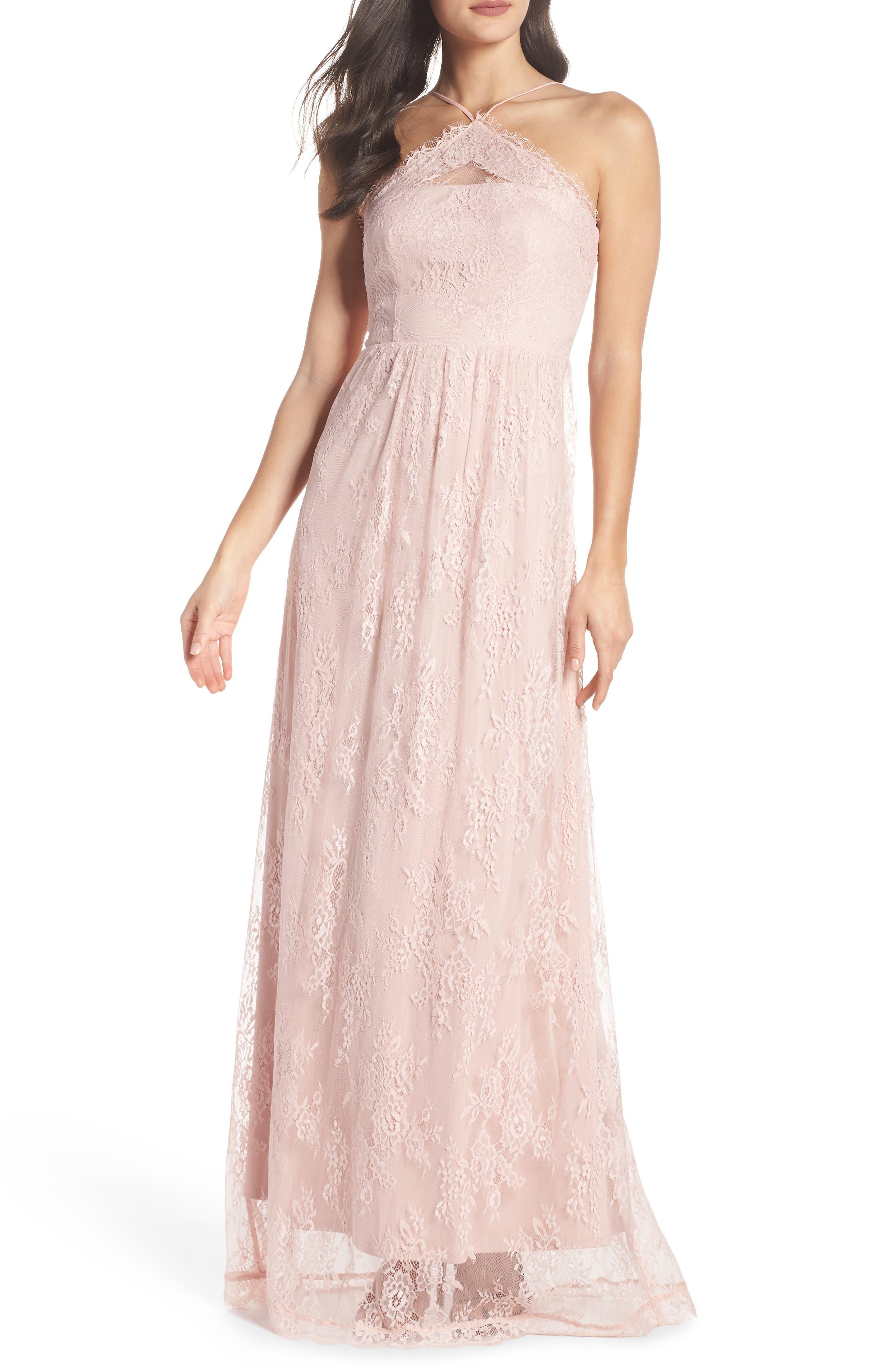 Eloise Halter Neck Lace Gown,                             Main thumbnail 1, color,                             Rose Quartz