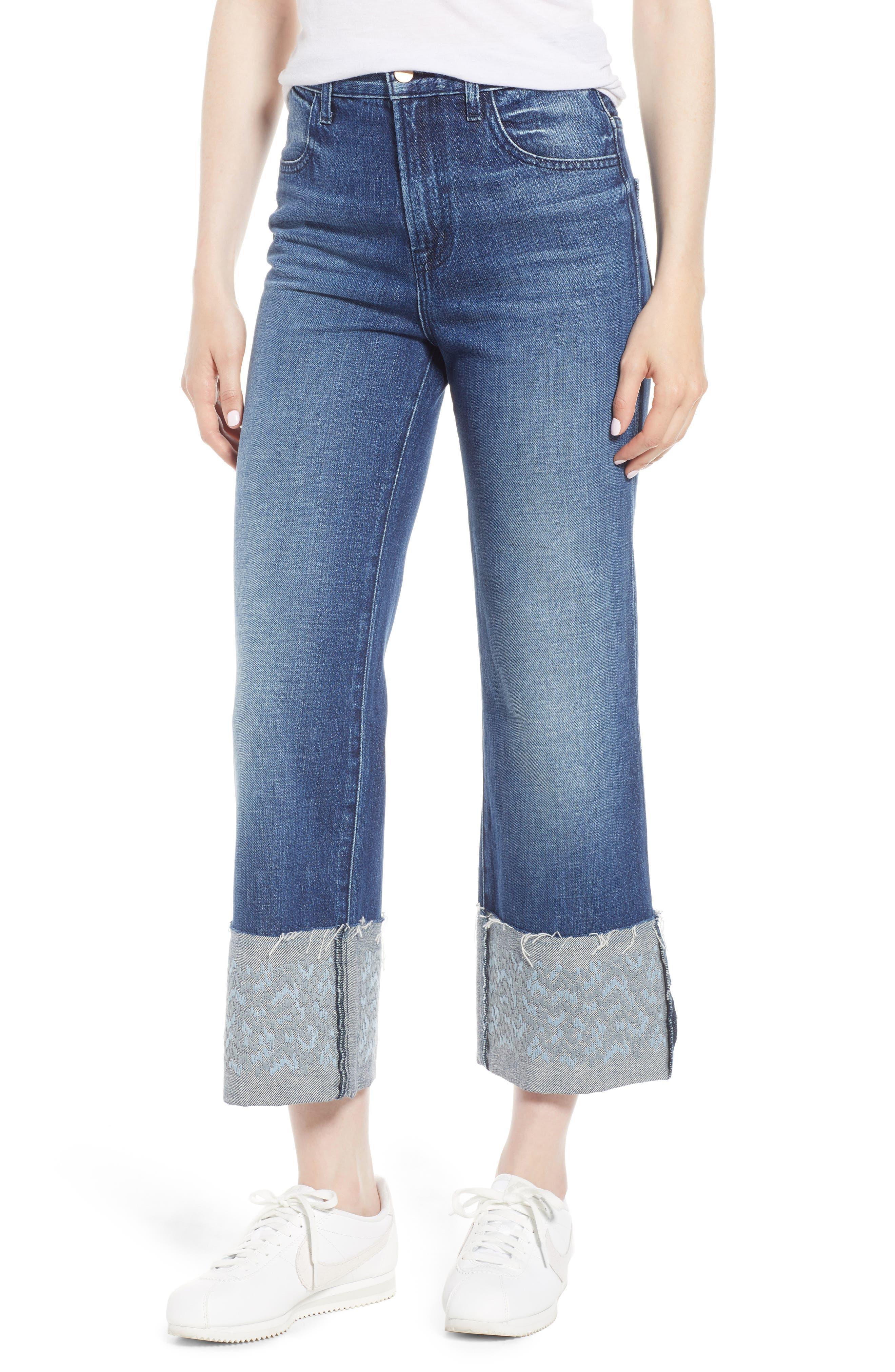 Joan High Waist Crop Wide Leg Jeans,                             Main thumbnail 1, color,                             Revive