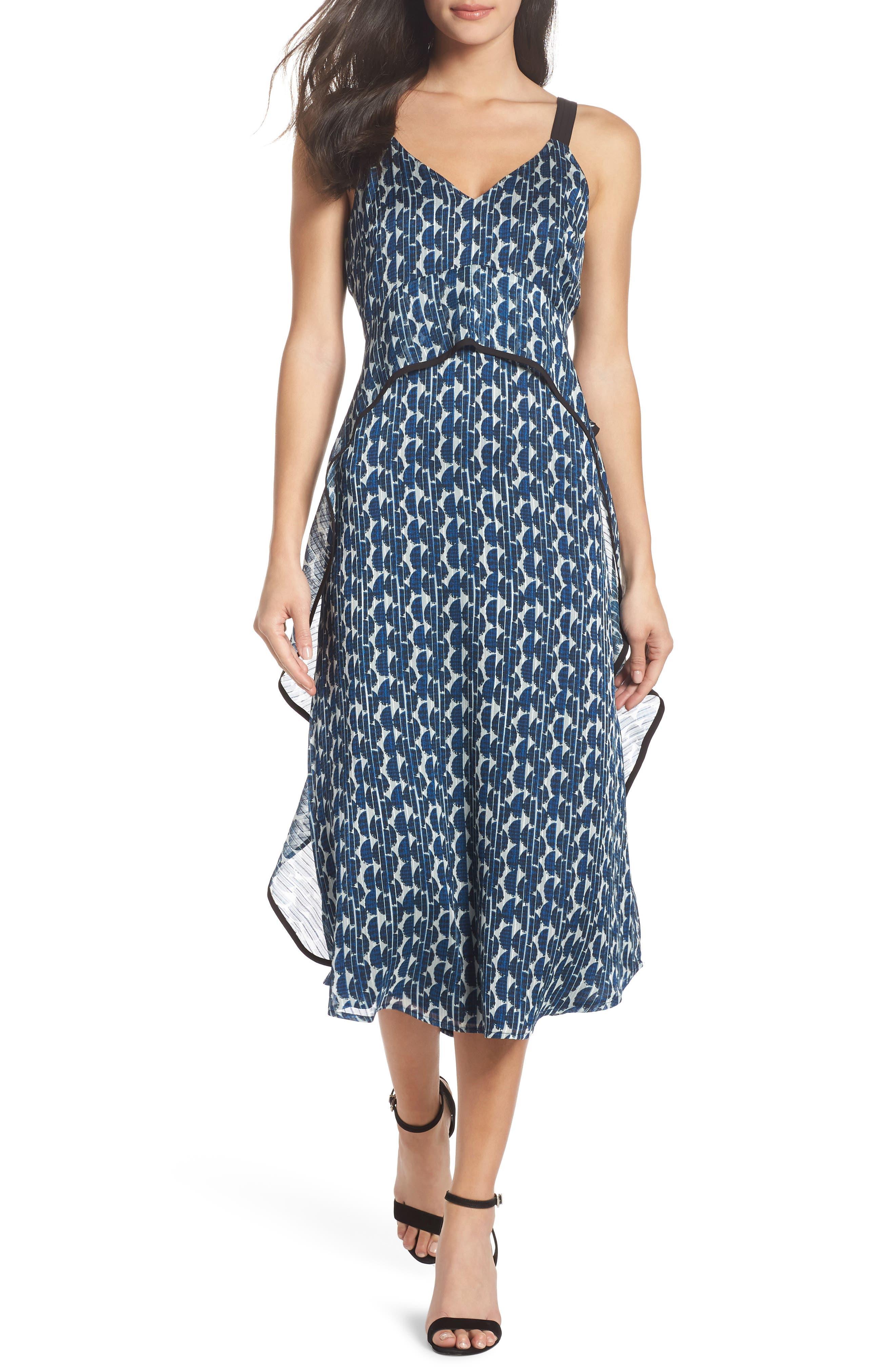 Print Frill Midi Dress,                             Main thumbnail 1, color,                             Blue/ Black
