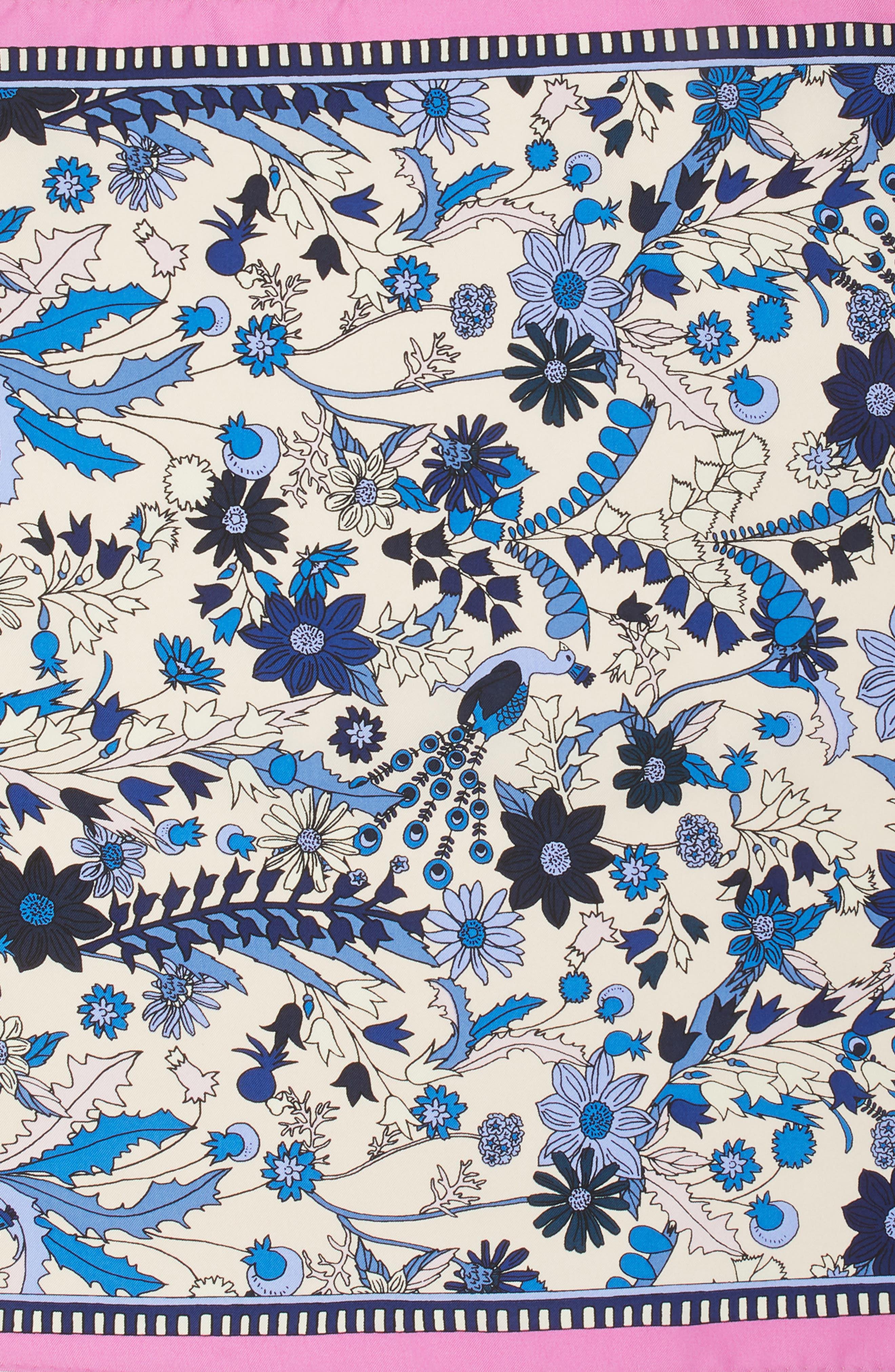 Meadow Folly Silk Scarf,                             Alternate thumbnail 4, color,                             Pink Meadow Folly