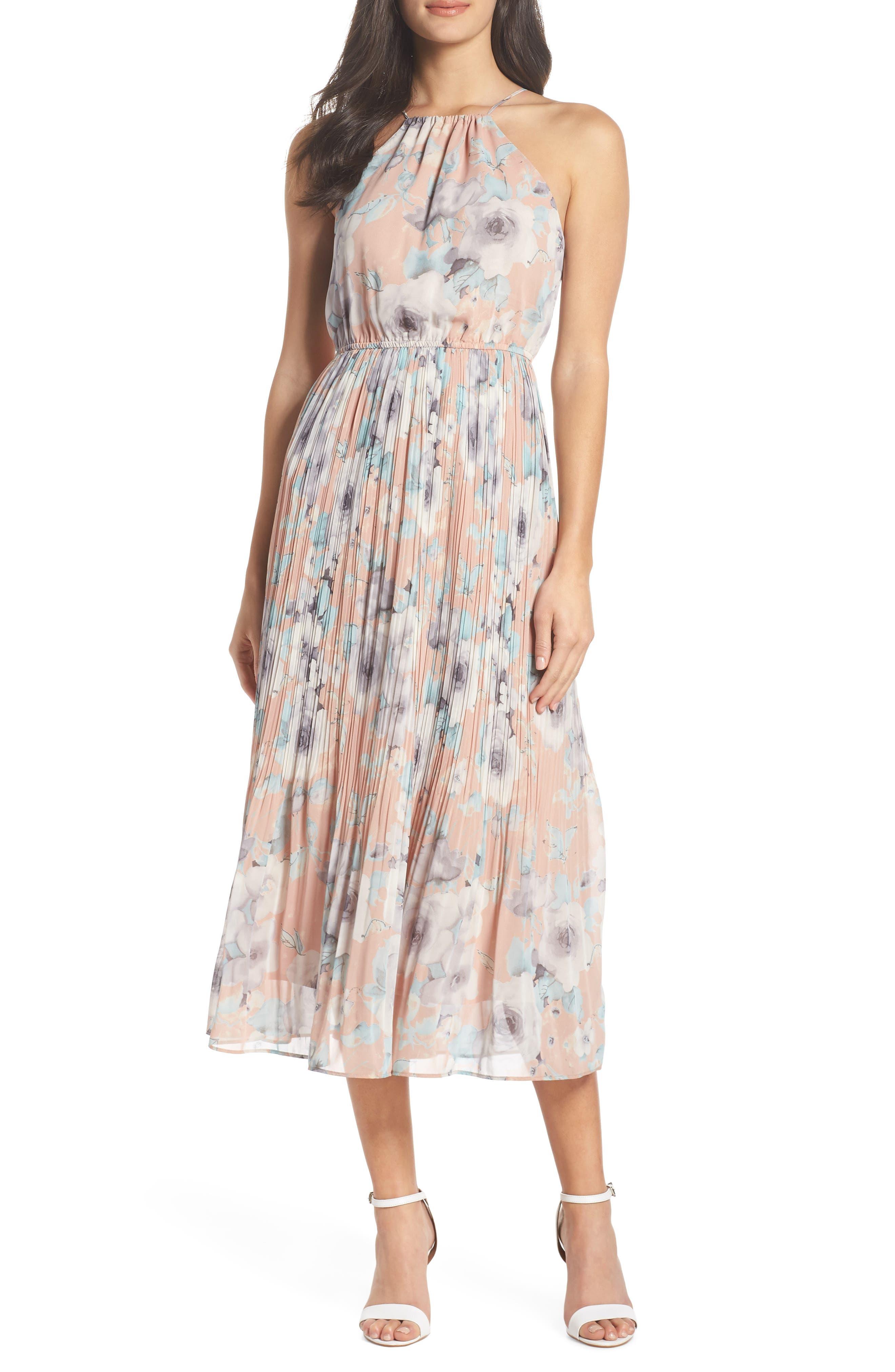 Pleated Floral Halter Dress,                         Main,                         color, Blush