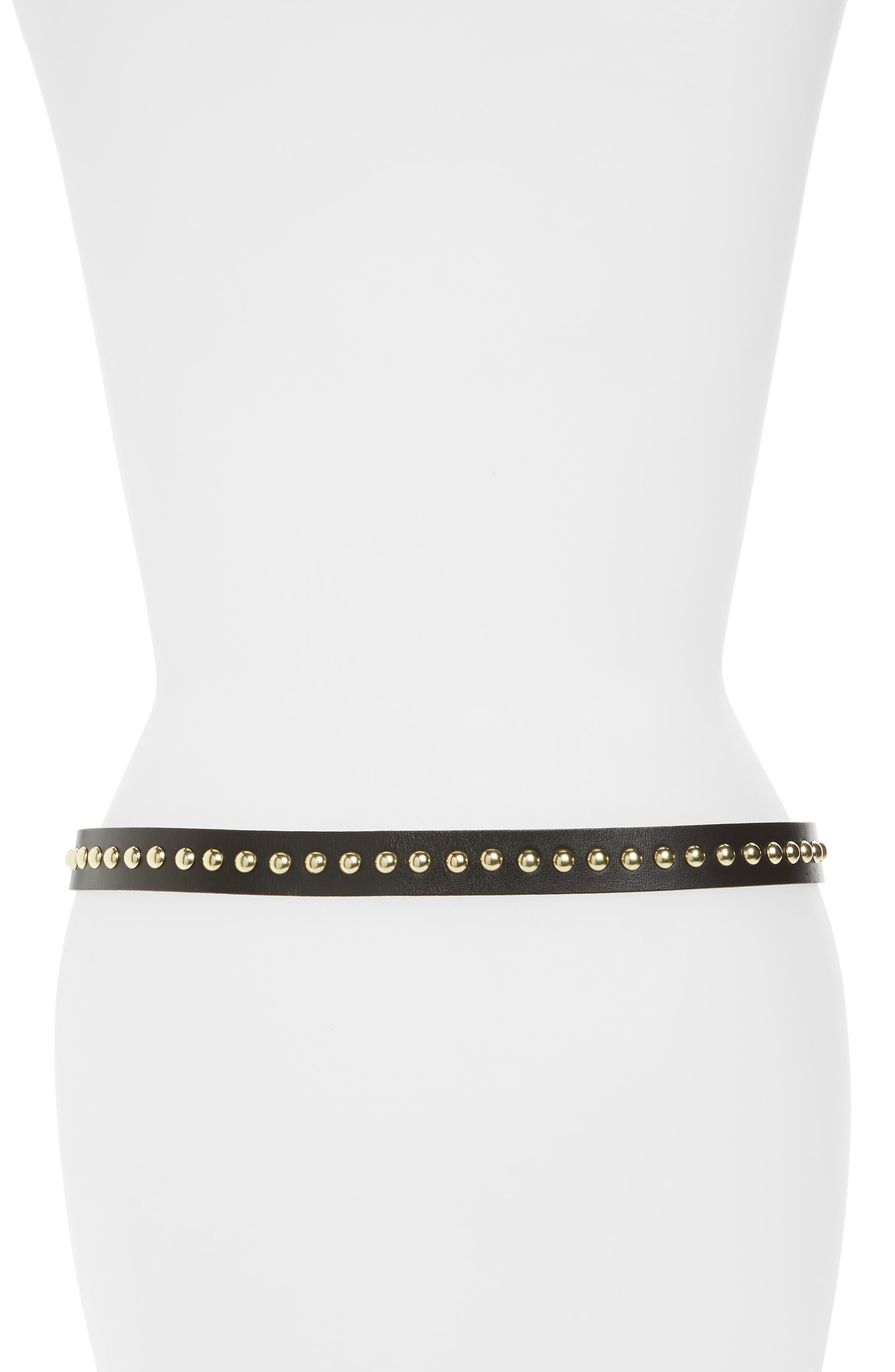 Metal Tipped Studded Skinny Belt,                             Alternate thumbnail 2, color,                             Black