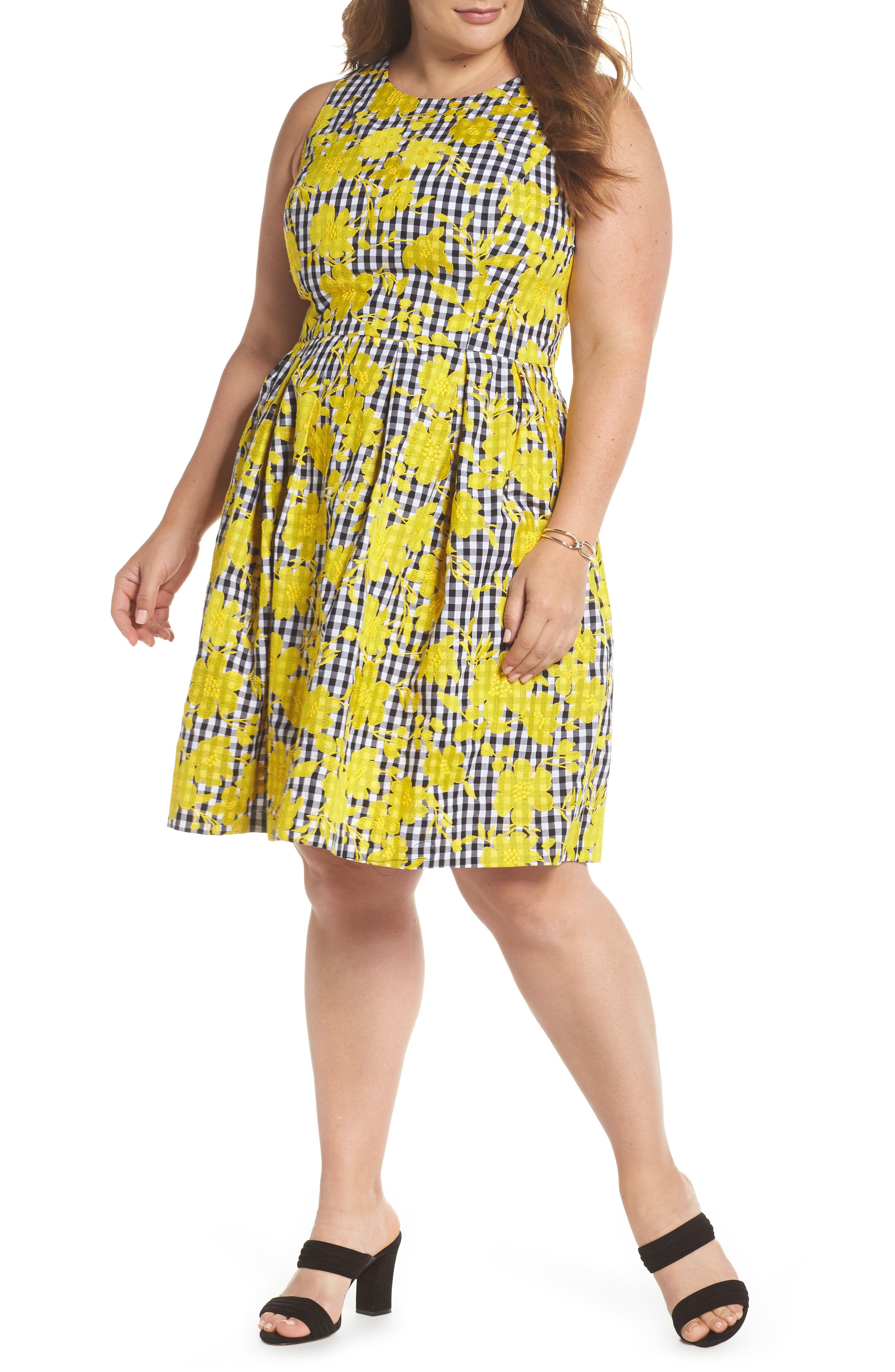 Embroidered Gingham Fit & Flare Dress,                             Main thumbnail 1, color,                             Yellow- Black Gingham