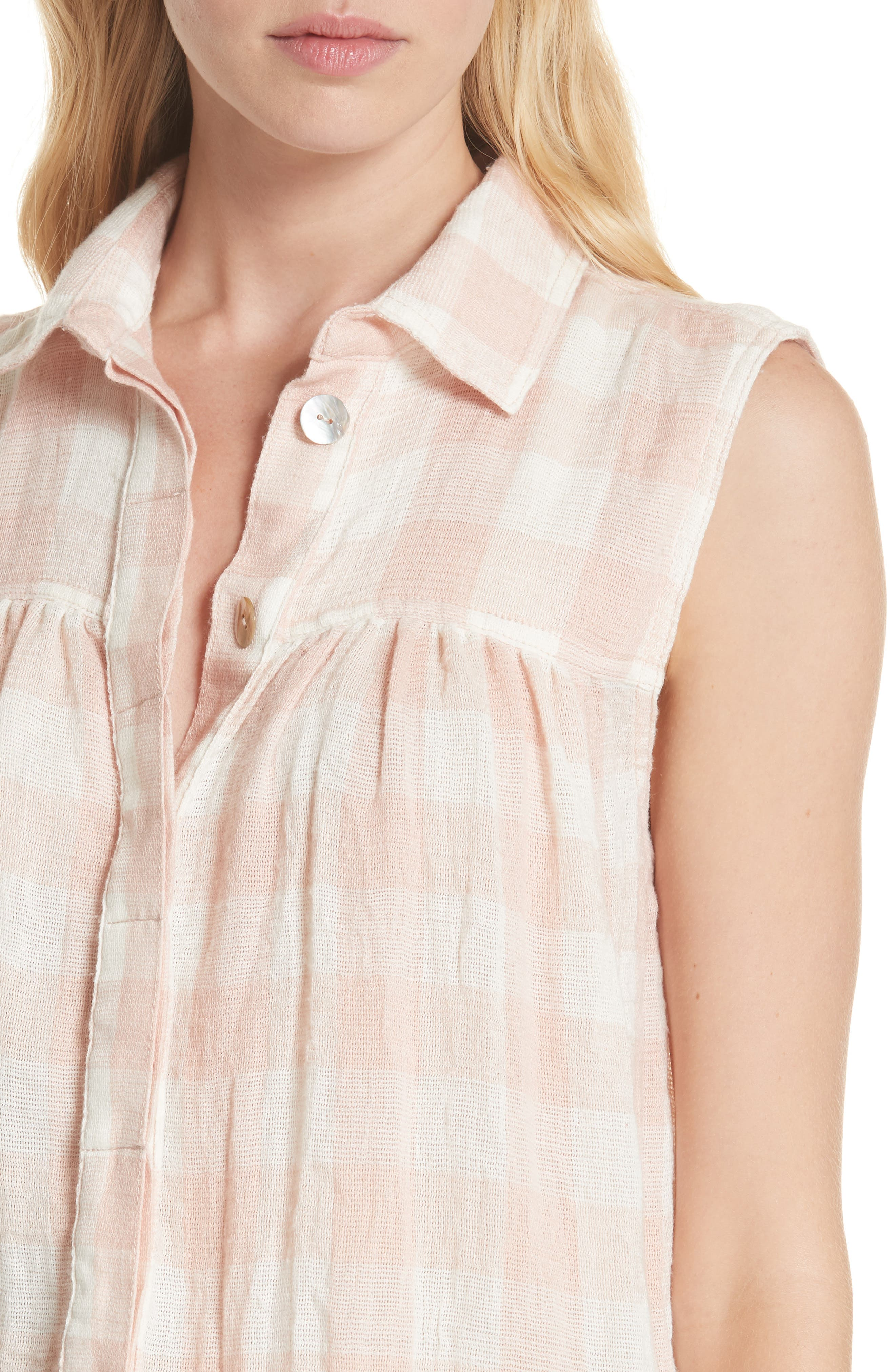 Hey There Sunrise Button Front Shirt,                             Alternate thumbnail 4, color,                             Pink