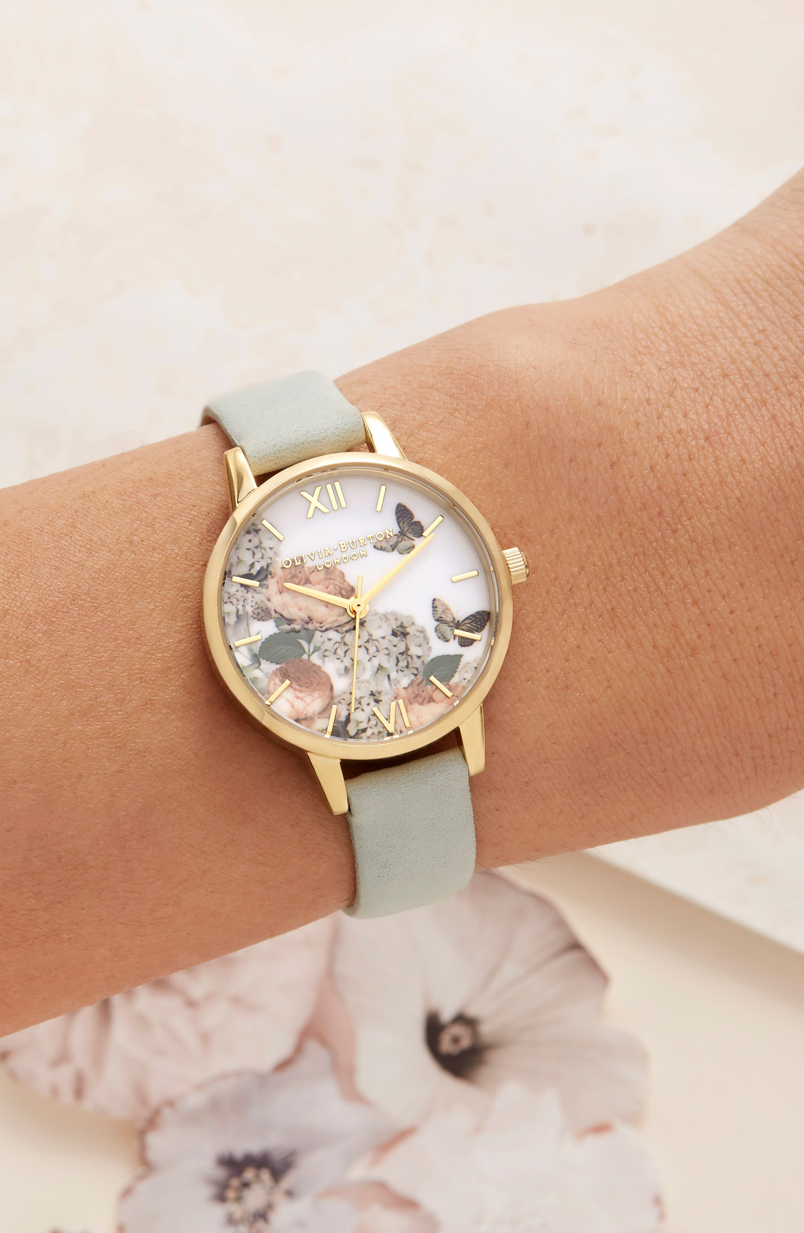 Signature Floral Leather Strap Watch, 30mm,                             Alternate thumbnail 4, color,                             Sage/ Floral/ Gold