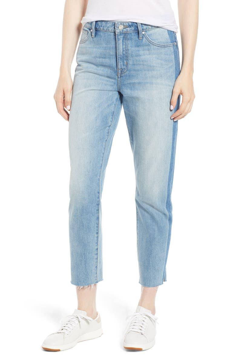 Straight Leg Shadow Stripe Crop Jeans