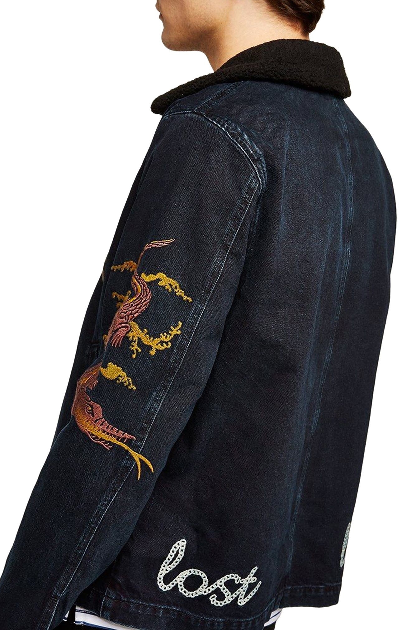 Decadent Embroidered Denim Jacket,                             Alternate thumbnail 2, color,                             Blue Multi