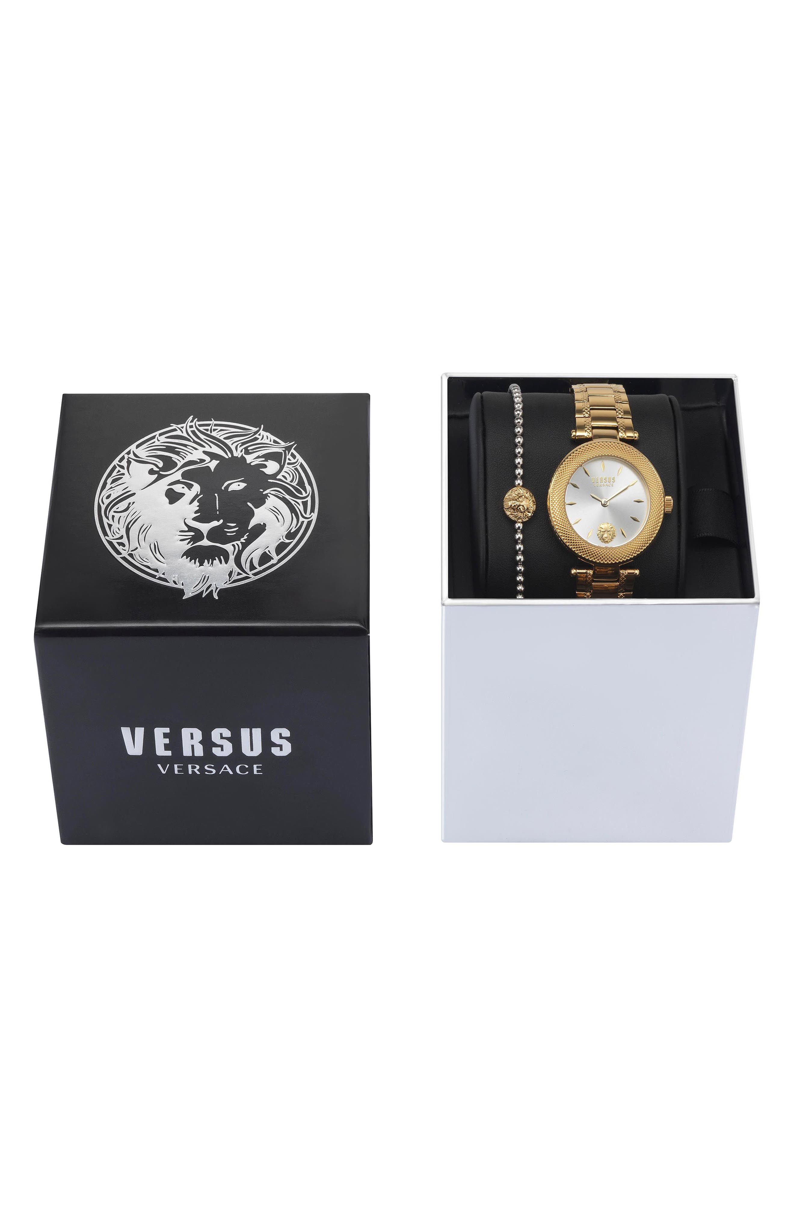 VERSUS by Versace Bricklane Watch Set, 36mm,                             Alternate thumbnail 4, color,                             Gold/ Silver