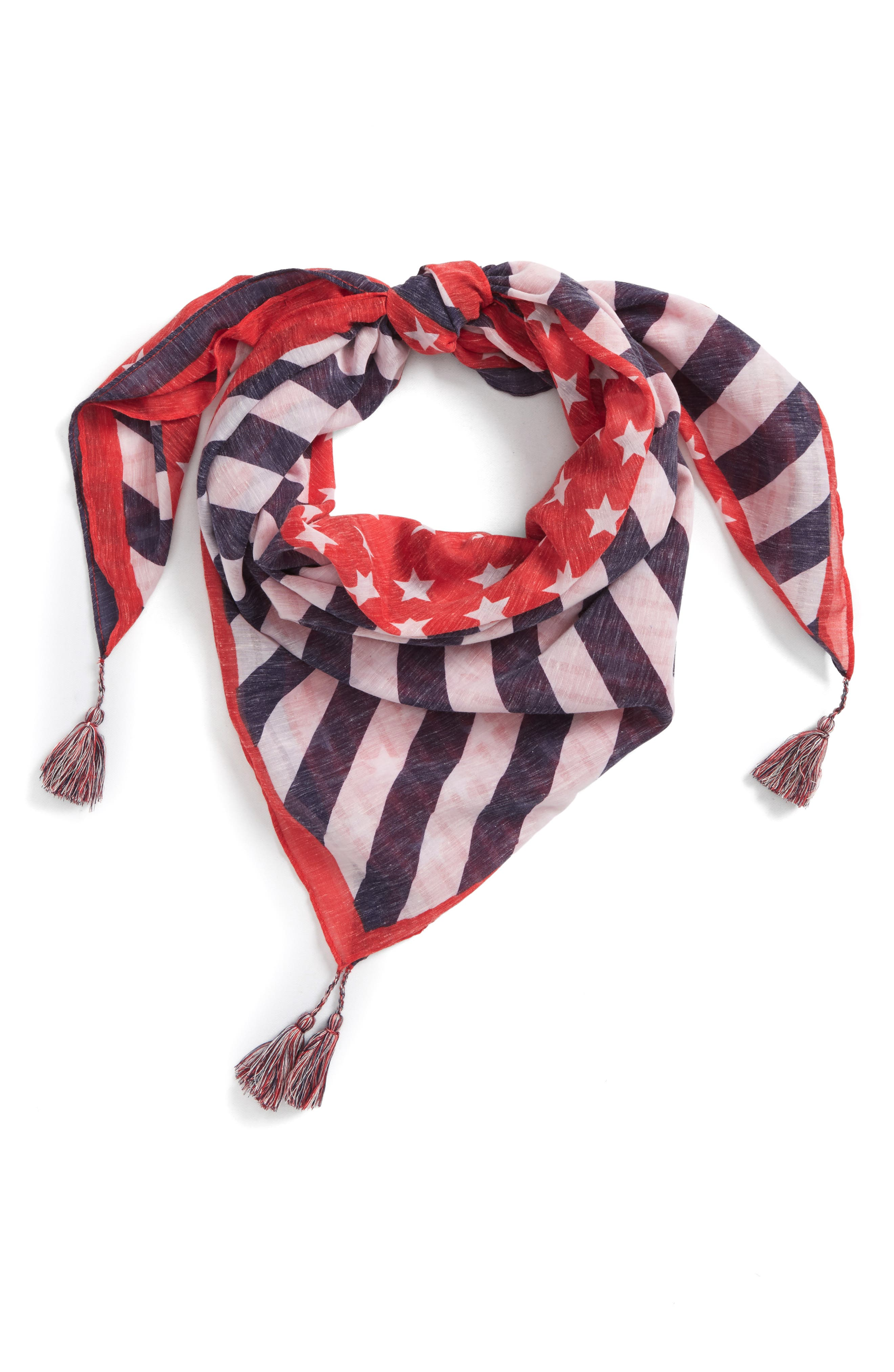 American Flag Square Scarf,                             Main thumbnail 1, color,                             Navy/ Red