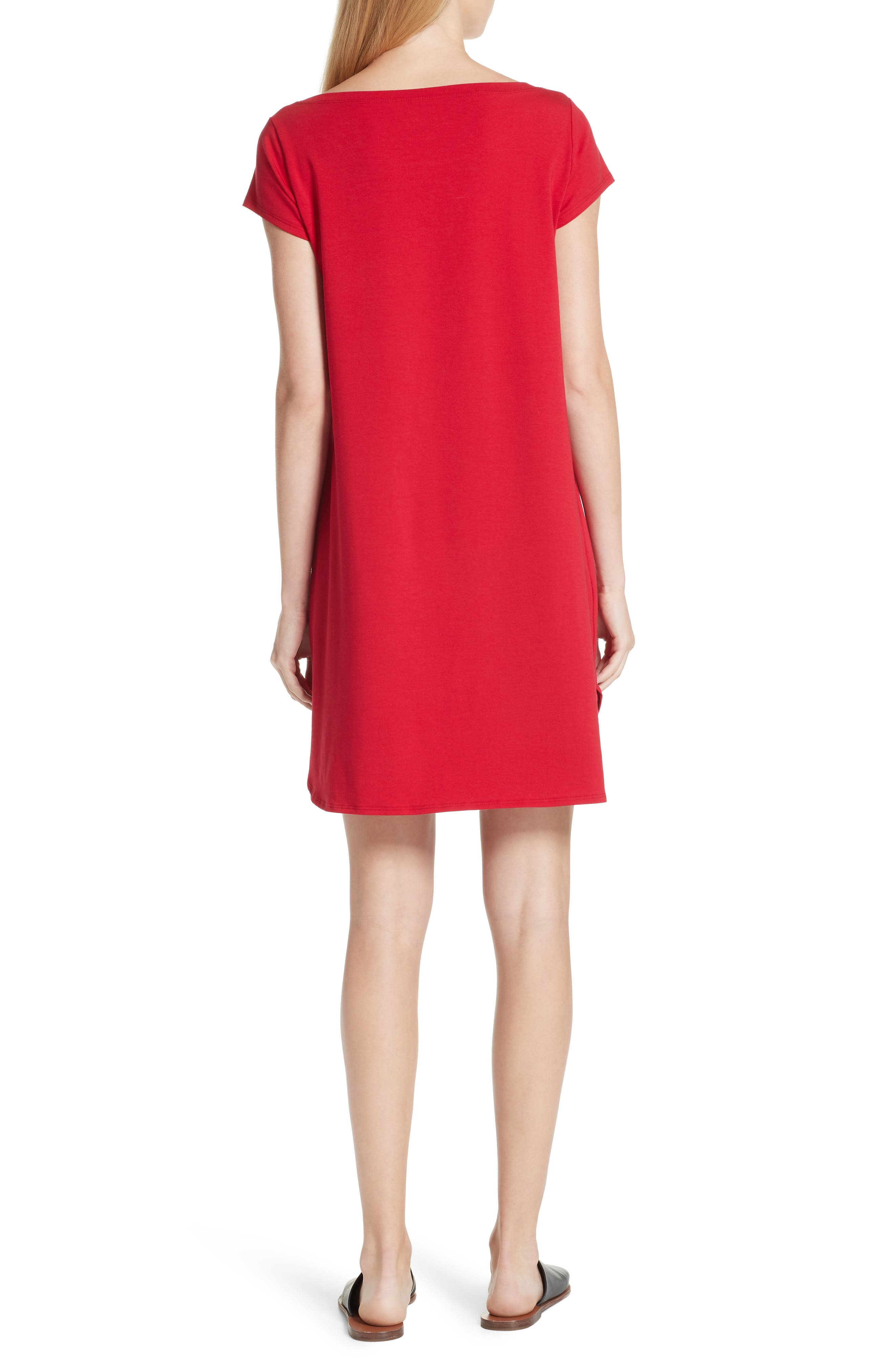 Stretch Cotton Shift Dress,                             Alternate thumbnail 2, color,                             Ruby