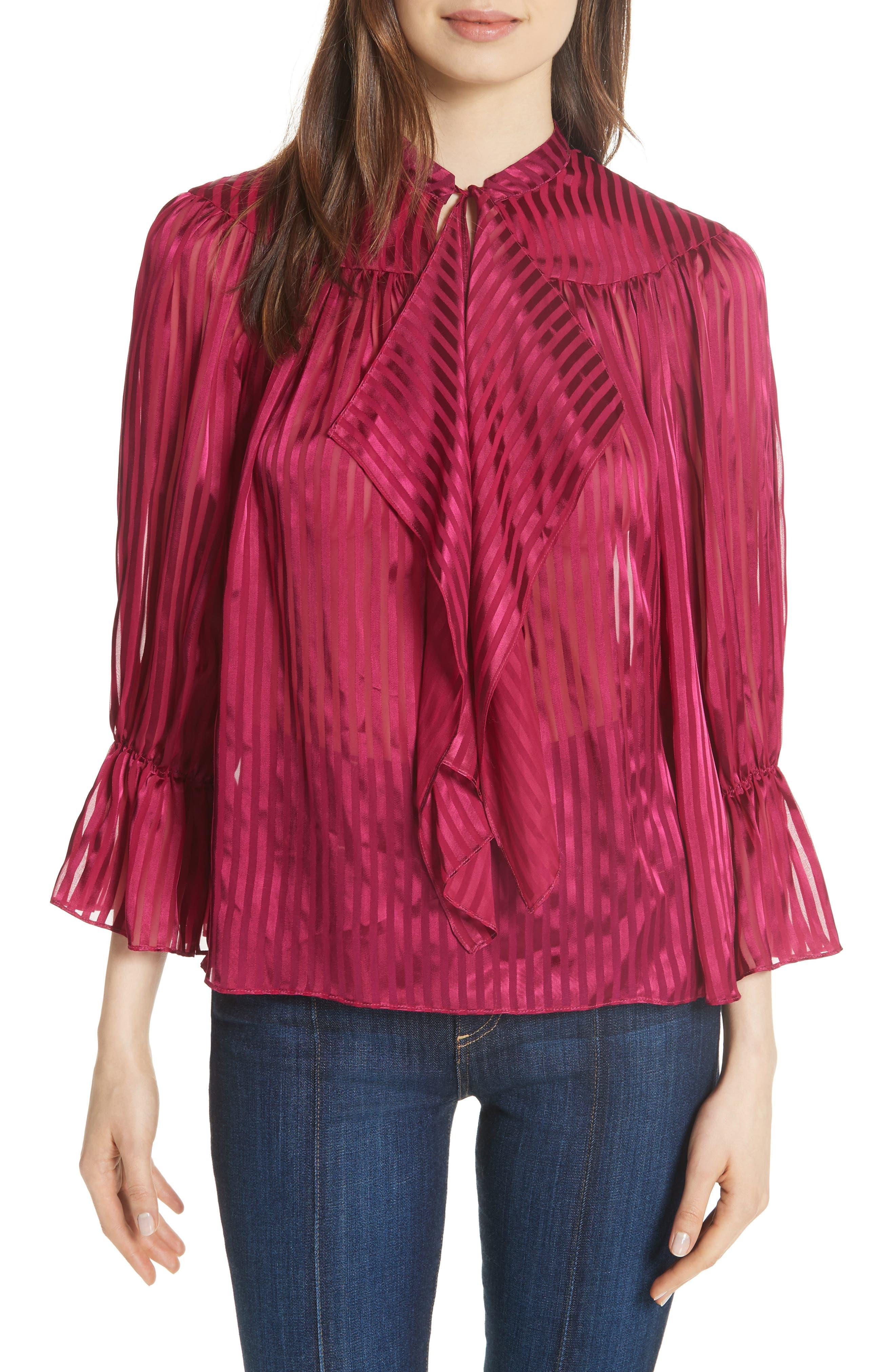 Danika Tie Neck Blouse,                         Main,                         color, Mini Stripe/ Raspberry