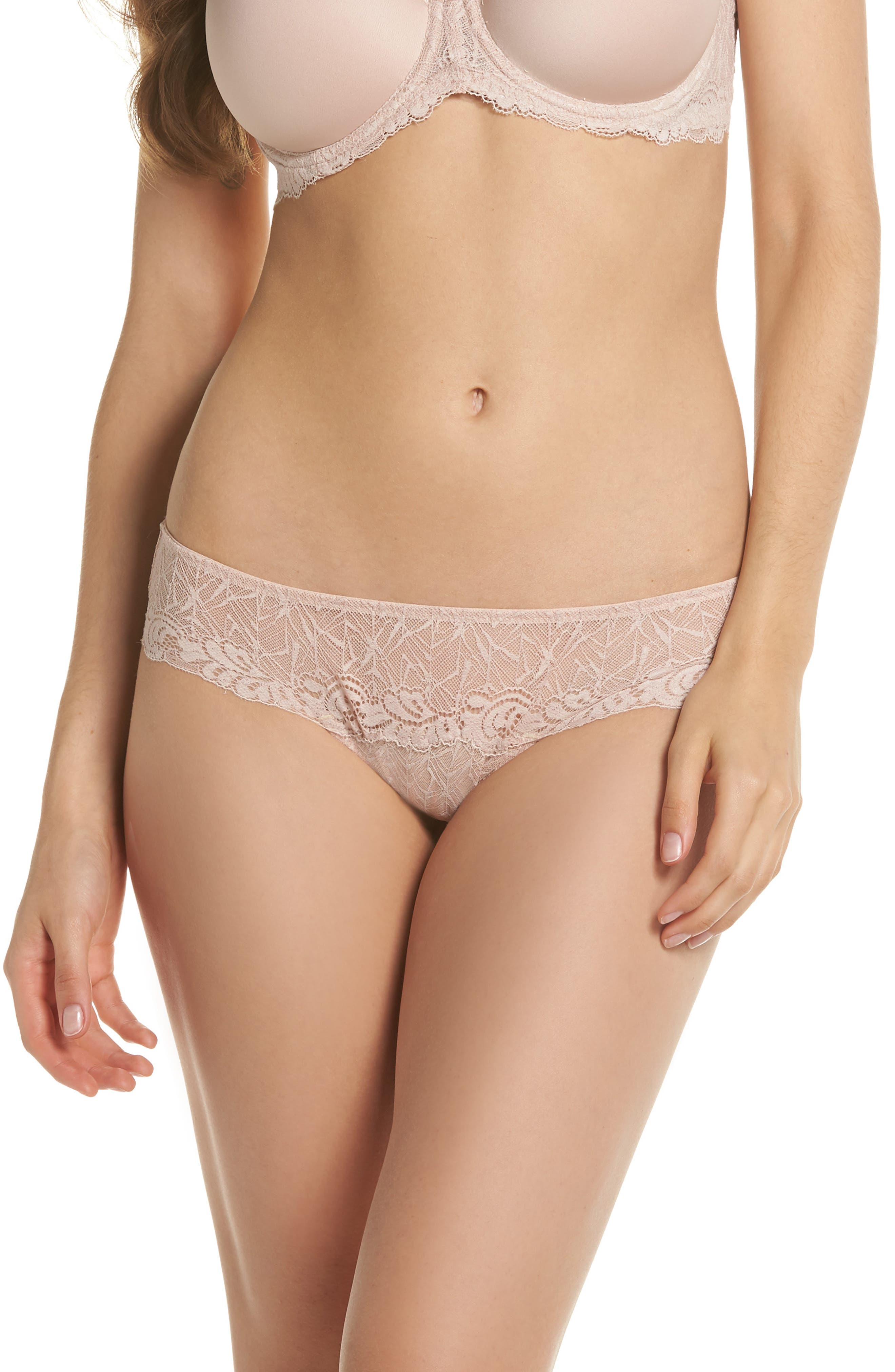 Vivid Encounter Lace Bikini,                         Main,                         color, Rose Dust