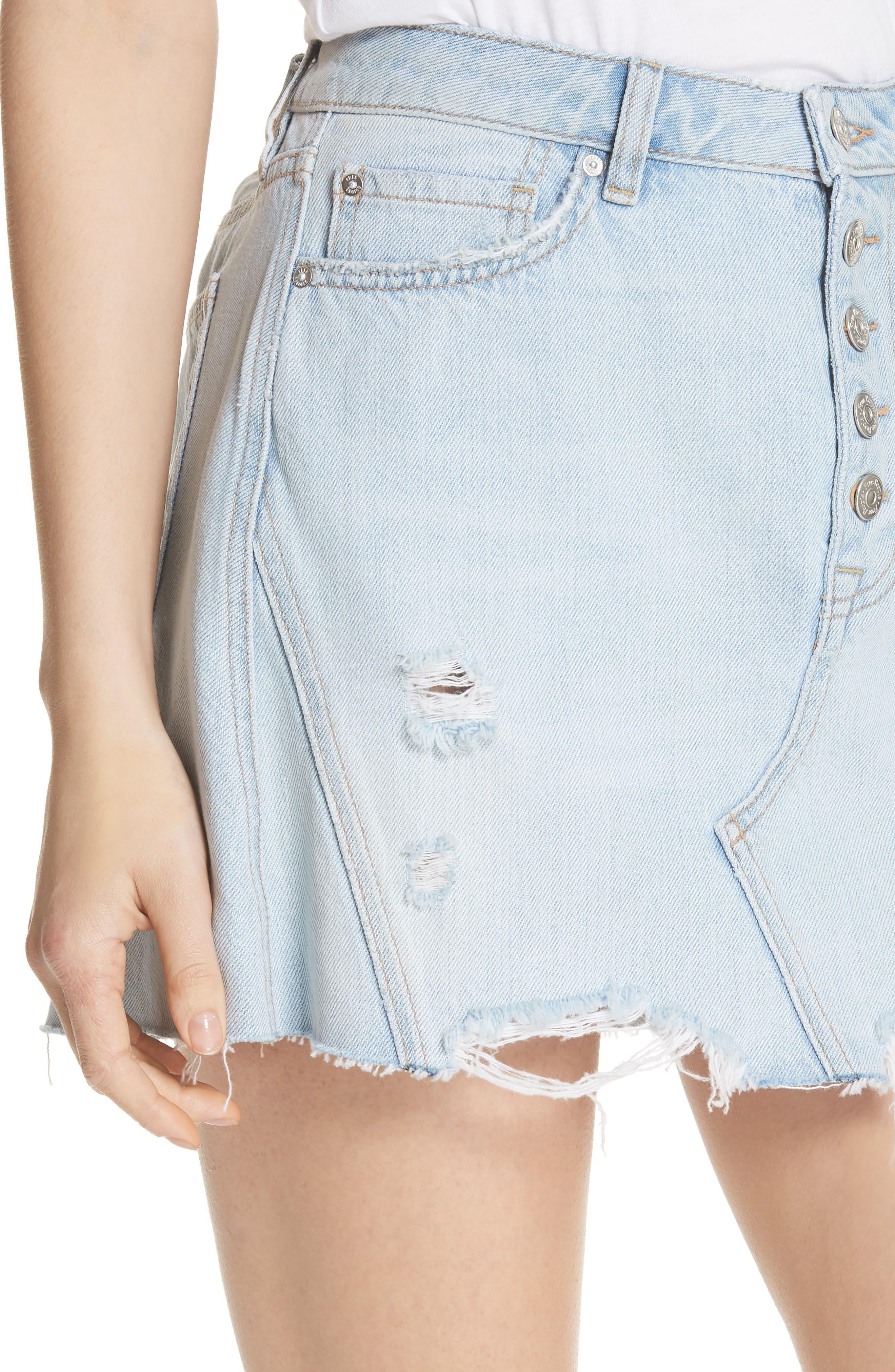 Denim A-Line Skirt,                             Alternate thumbnail 4, color,                             Light Denim