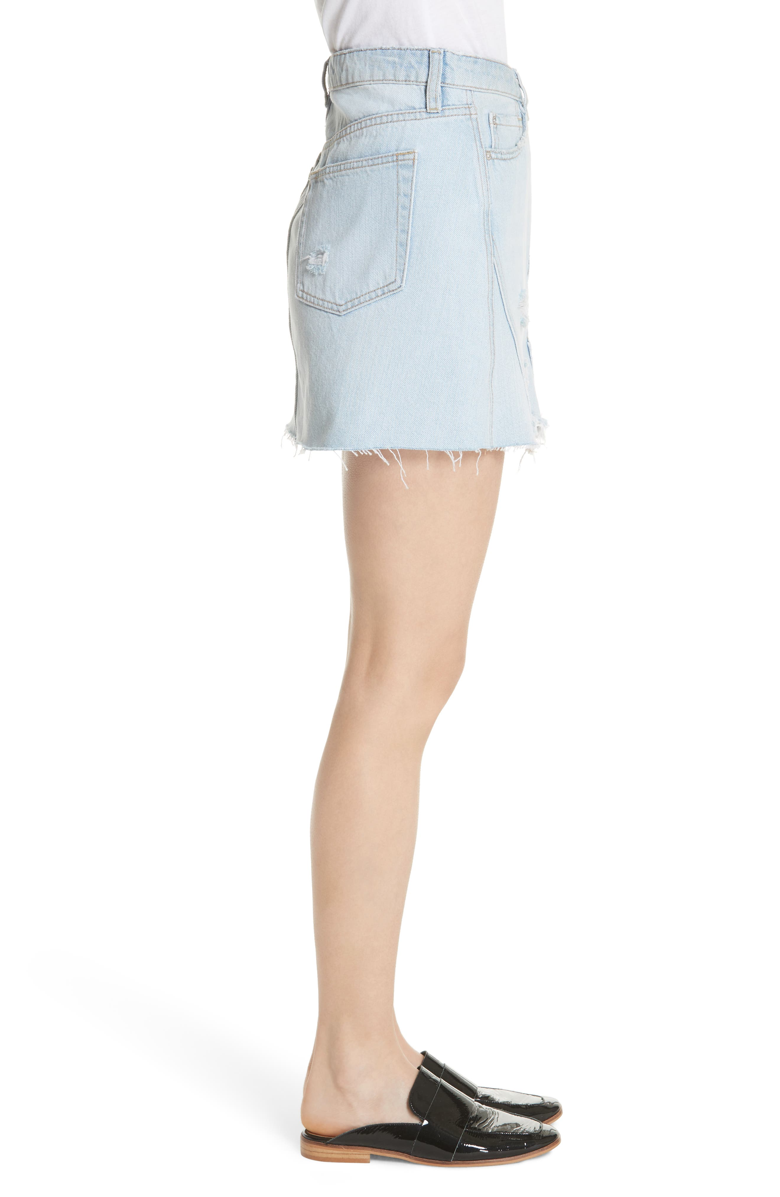Denim A-Line Skirt,                             Alternate thumbnail 3, color,                             Light Denim