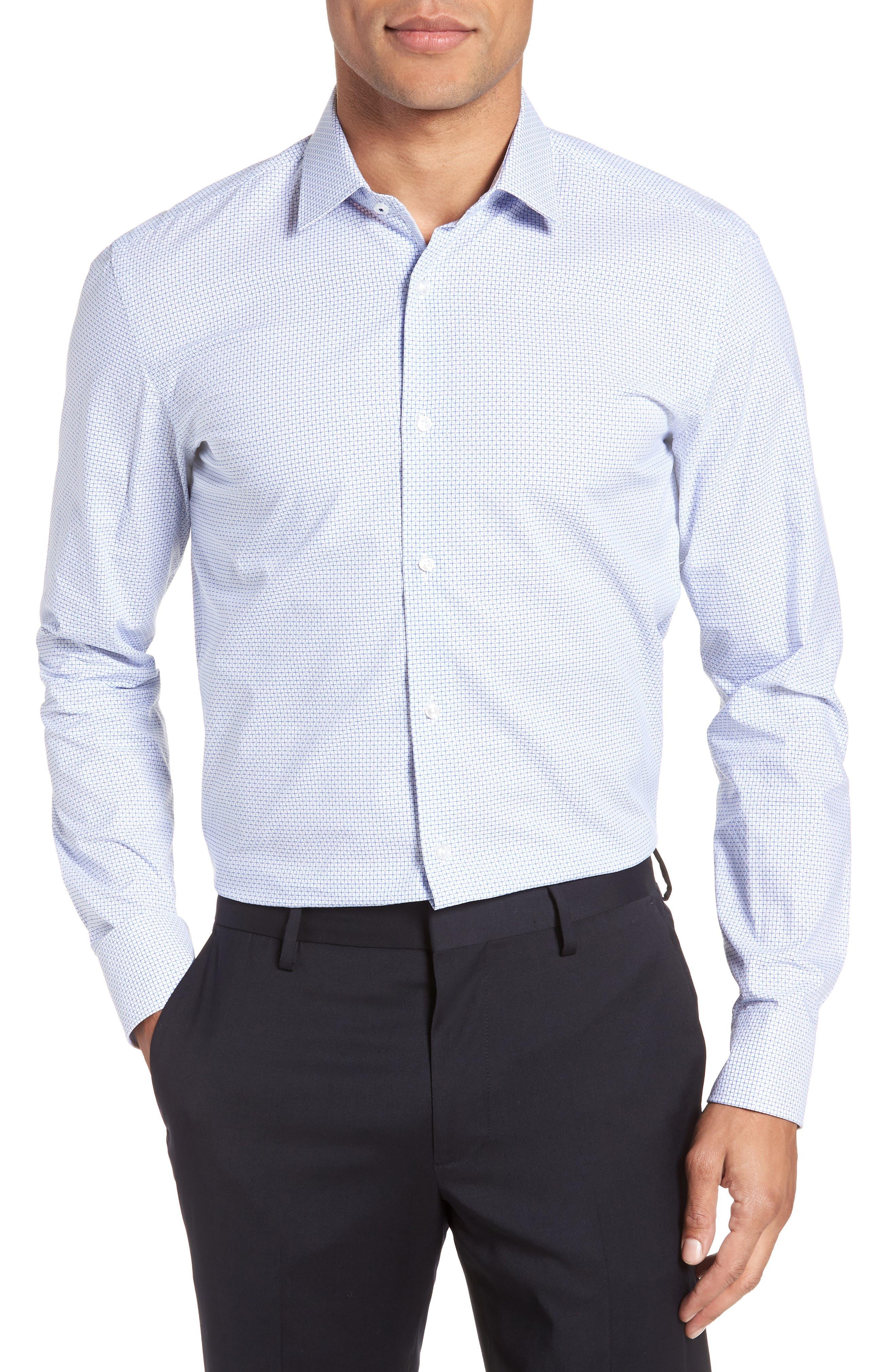 Jesse Slim Fit Check Dress Shirt,                         Main,                         color, Blue