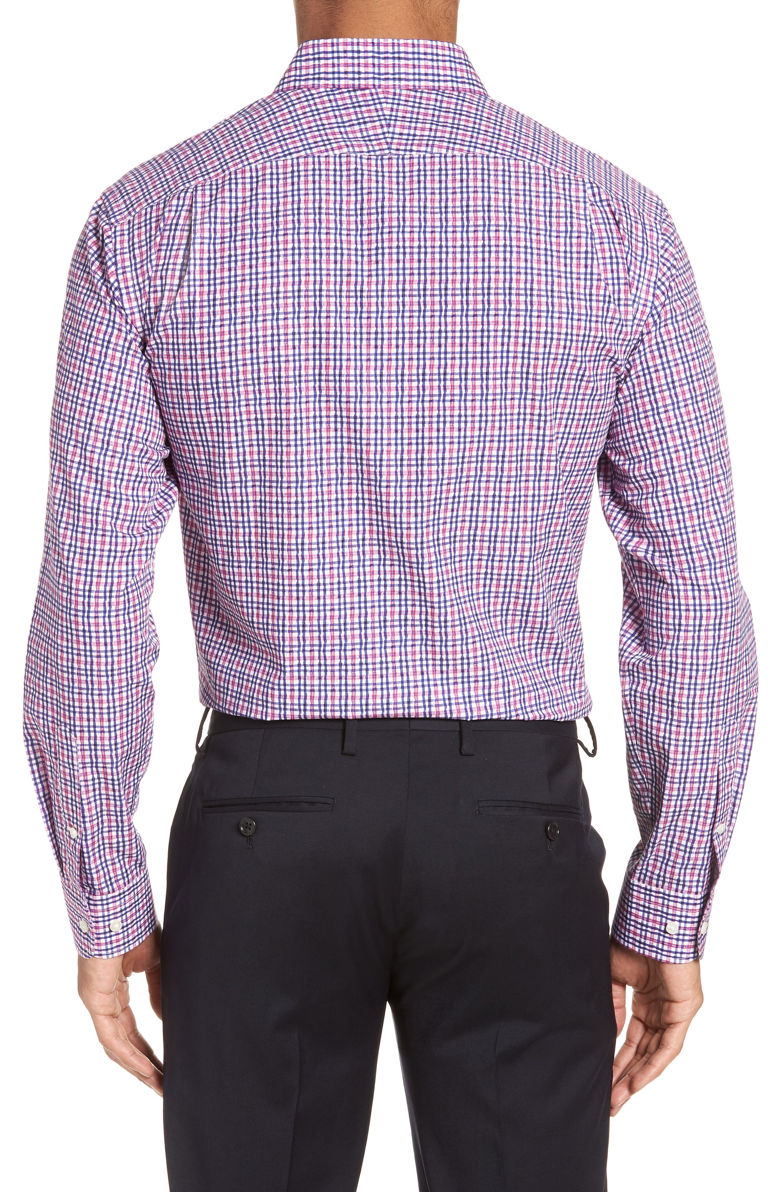 Trim Fit Plaid Dress Shirt,                             Alternate thumbnail 3, color,                             Pink Raspberry
