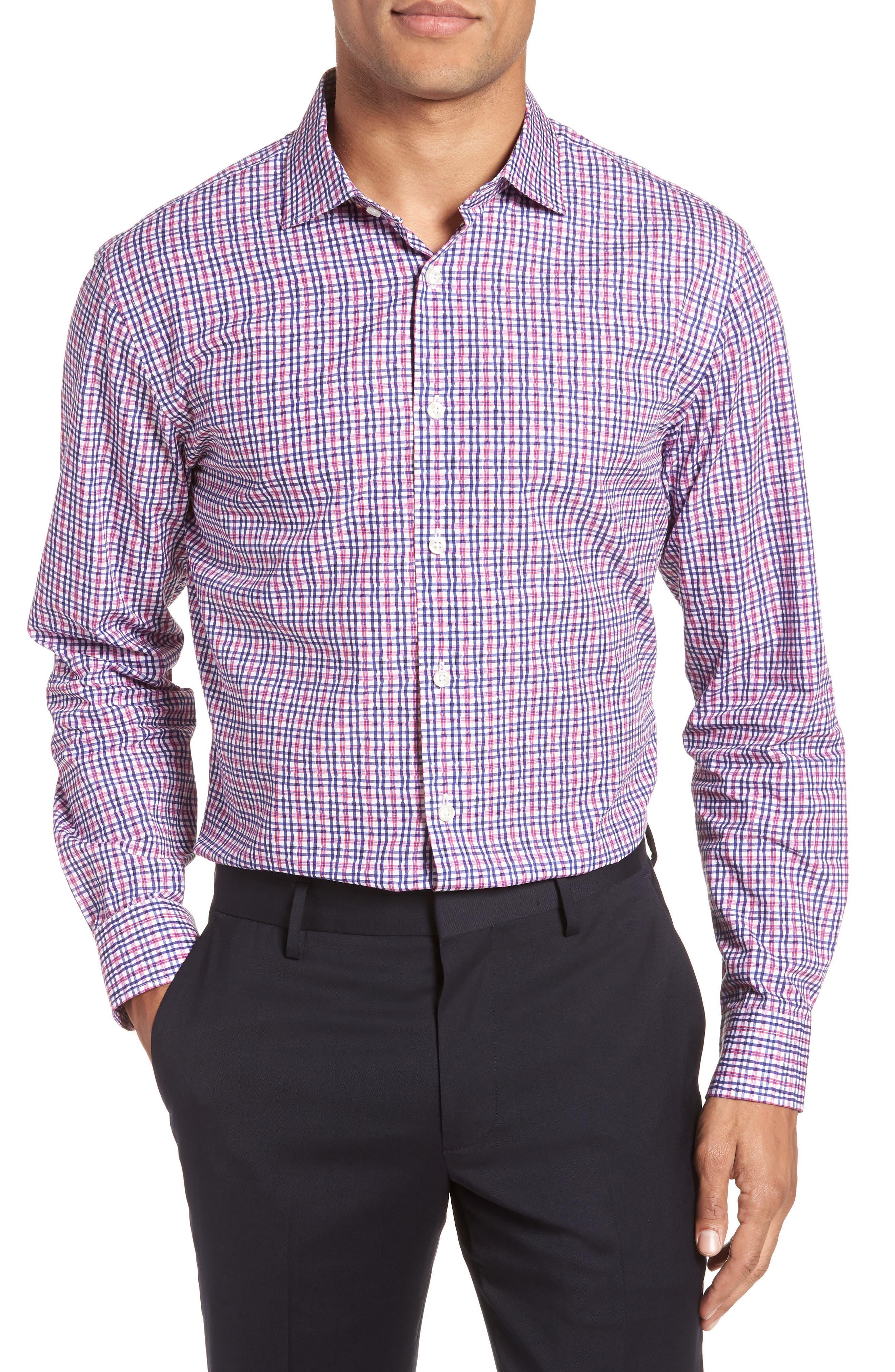 Trim Fit Plaid Dress Shirt,                         Main,                         color, Pink Raspberry