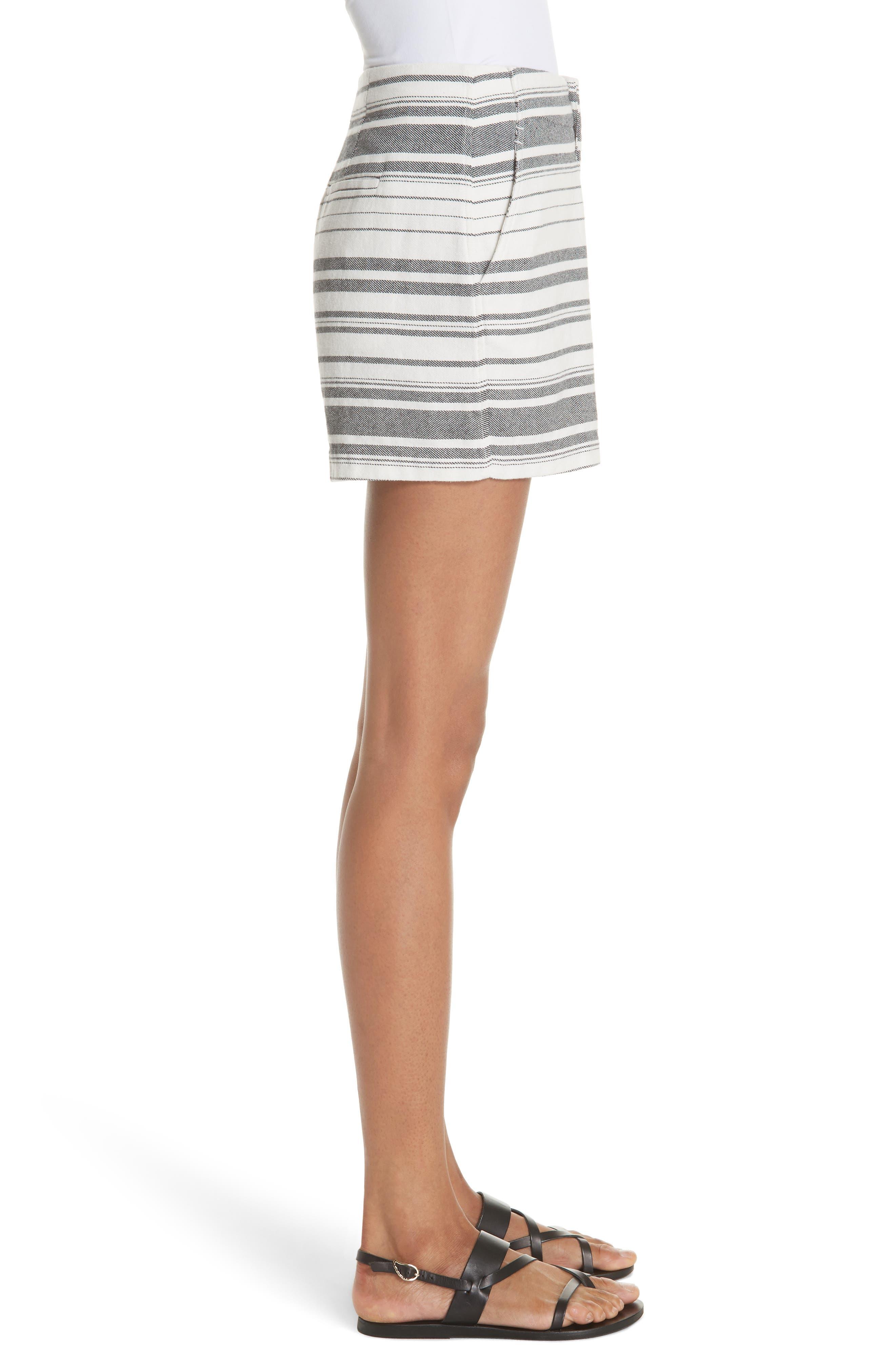 Brusha Stripe Cotton Twill Shorts,                             Alternate thumbnail 3, color,                             Caviar