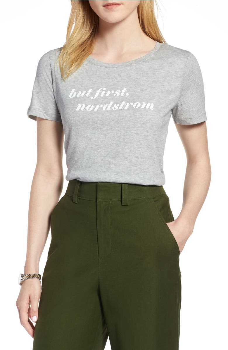 Short Sleeve Graphic Tee,                         Main,                         color, Grey- White Nordstrom