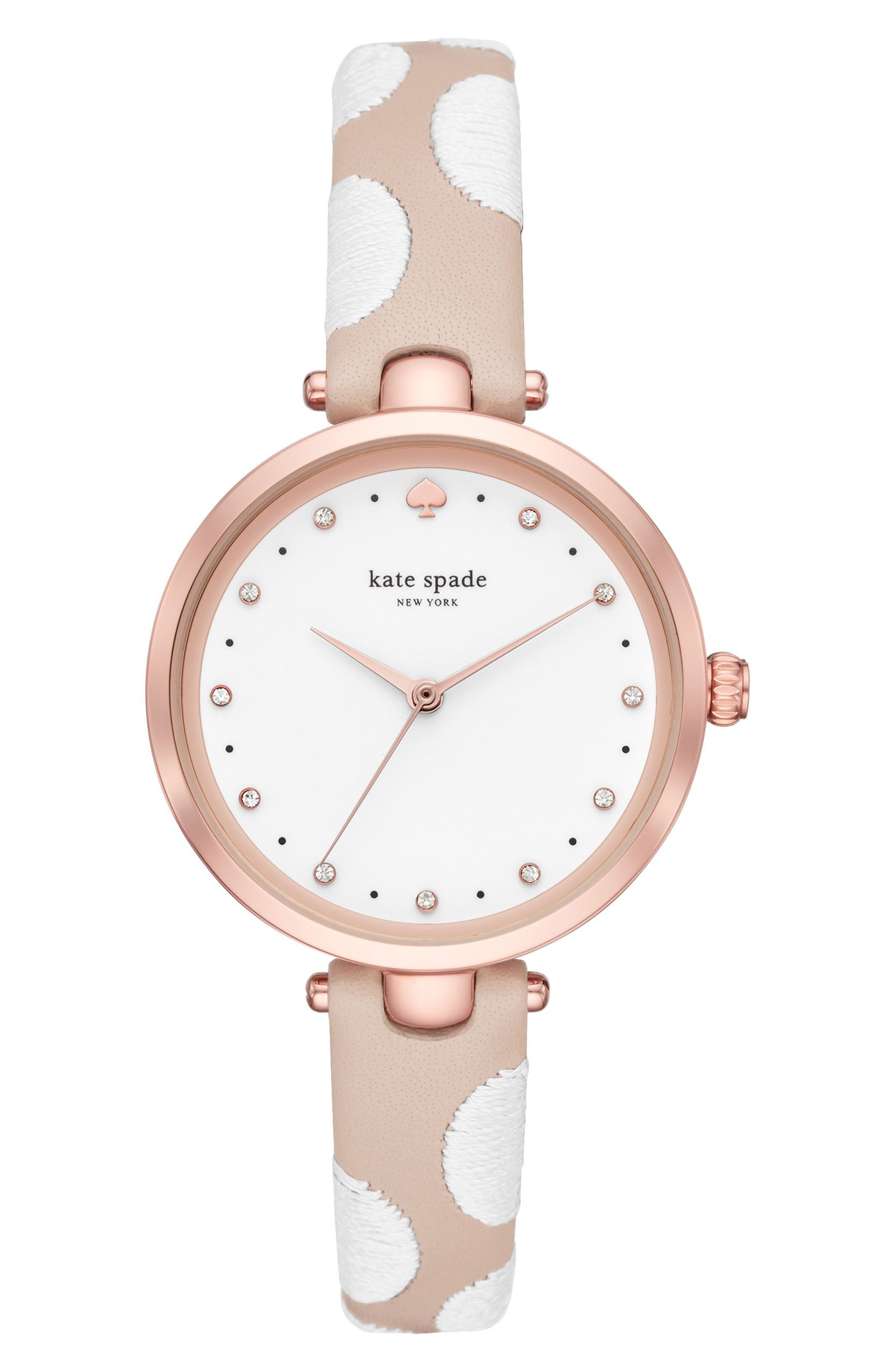 holland leather strap watch, 34mm,                         Main,                         color, Nude/ White/ Pink