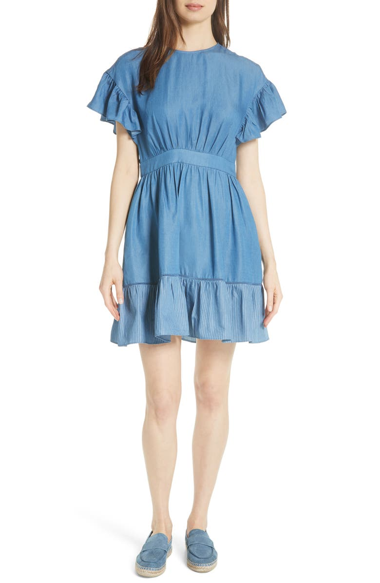 flutter sleeve chambray dress