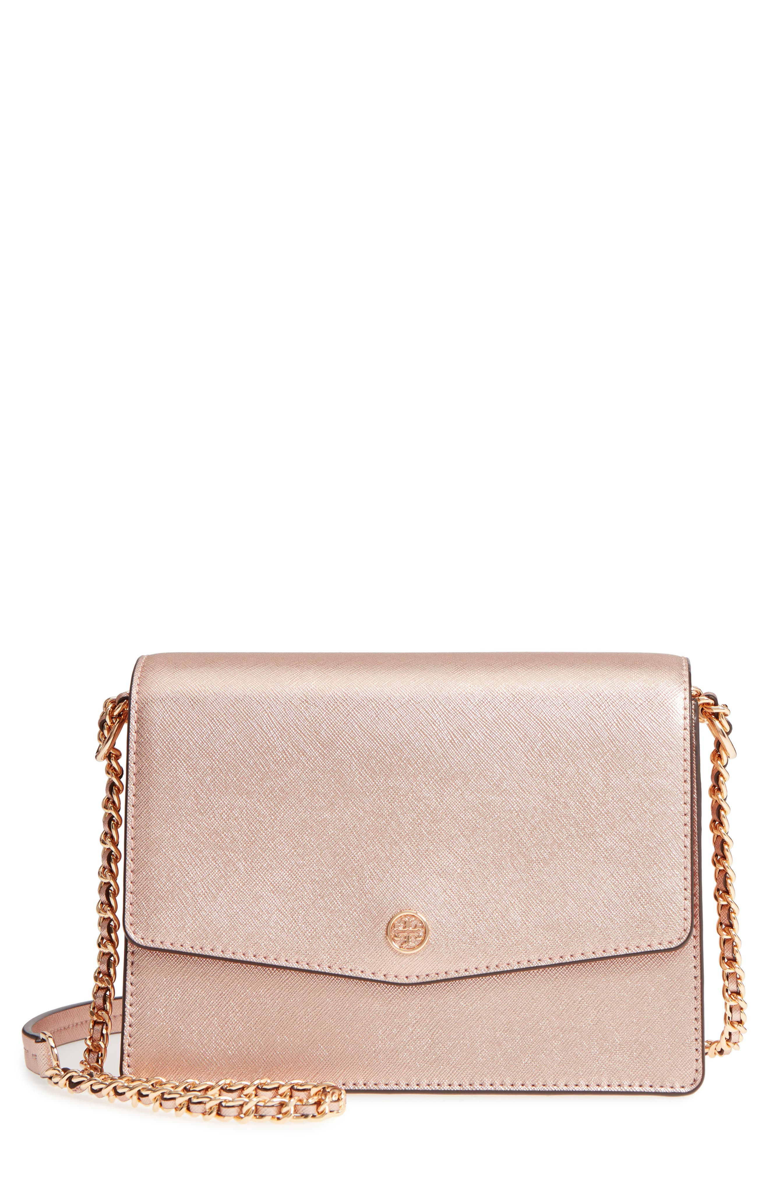 Robinson Convertible Metallic Leather Shoulder Bag,                             Main thumbnail 1, color,                             Light Rose Gold