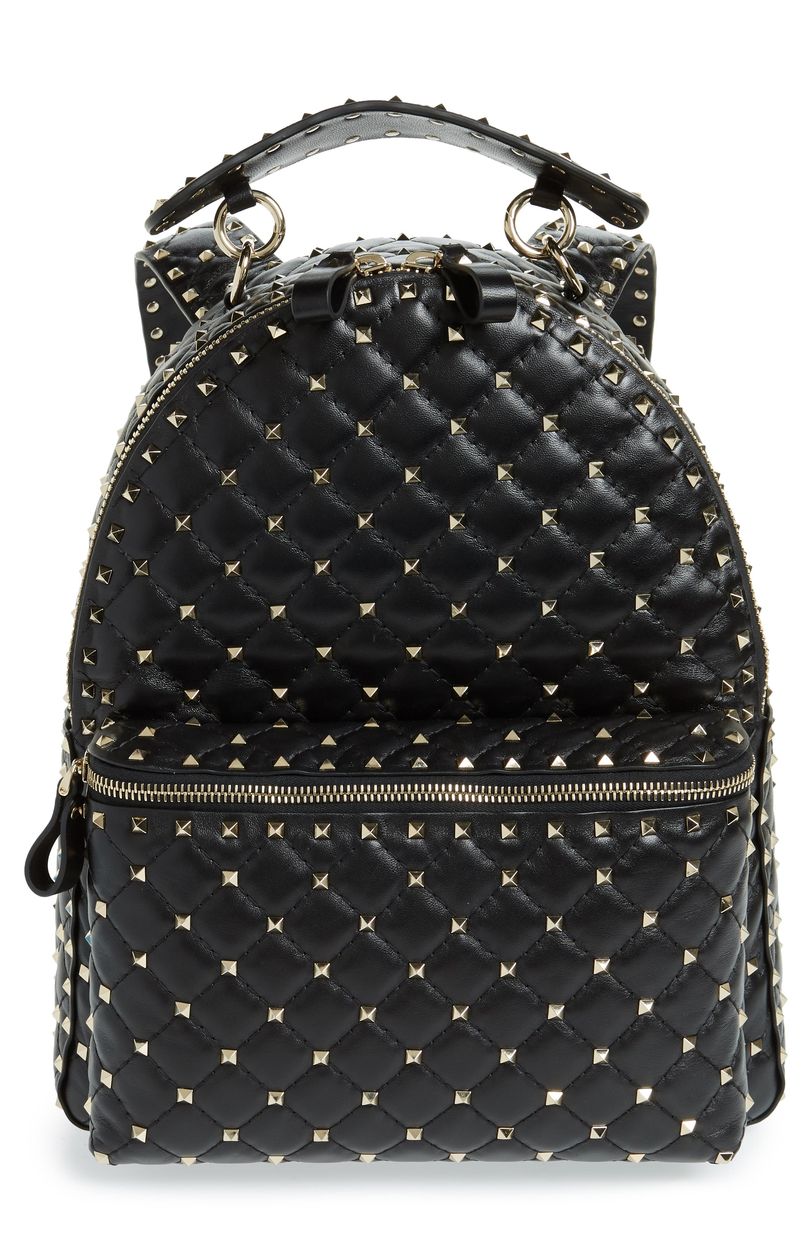 VALENTINO GARAVANI Rockstud Spike Quilted Lambskin Leather Backpack