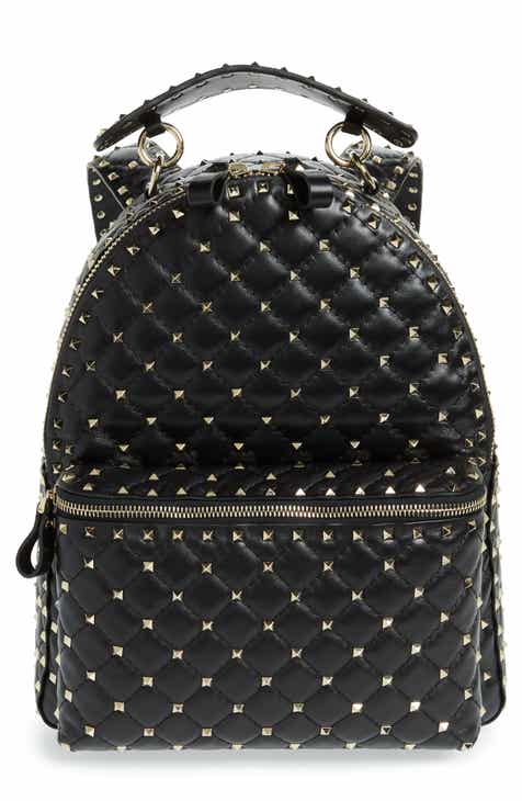 e830b16114 VALENTINO GARAVANI Rockstud Spike Quilted Lambskin Leather Backpack