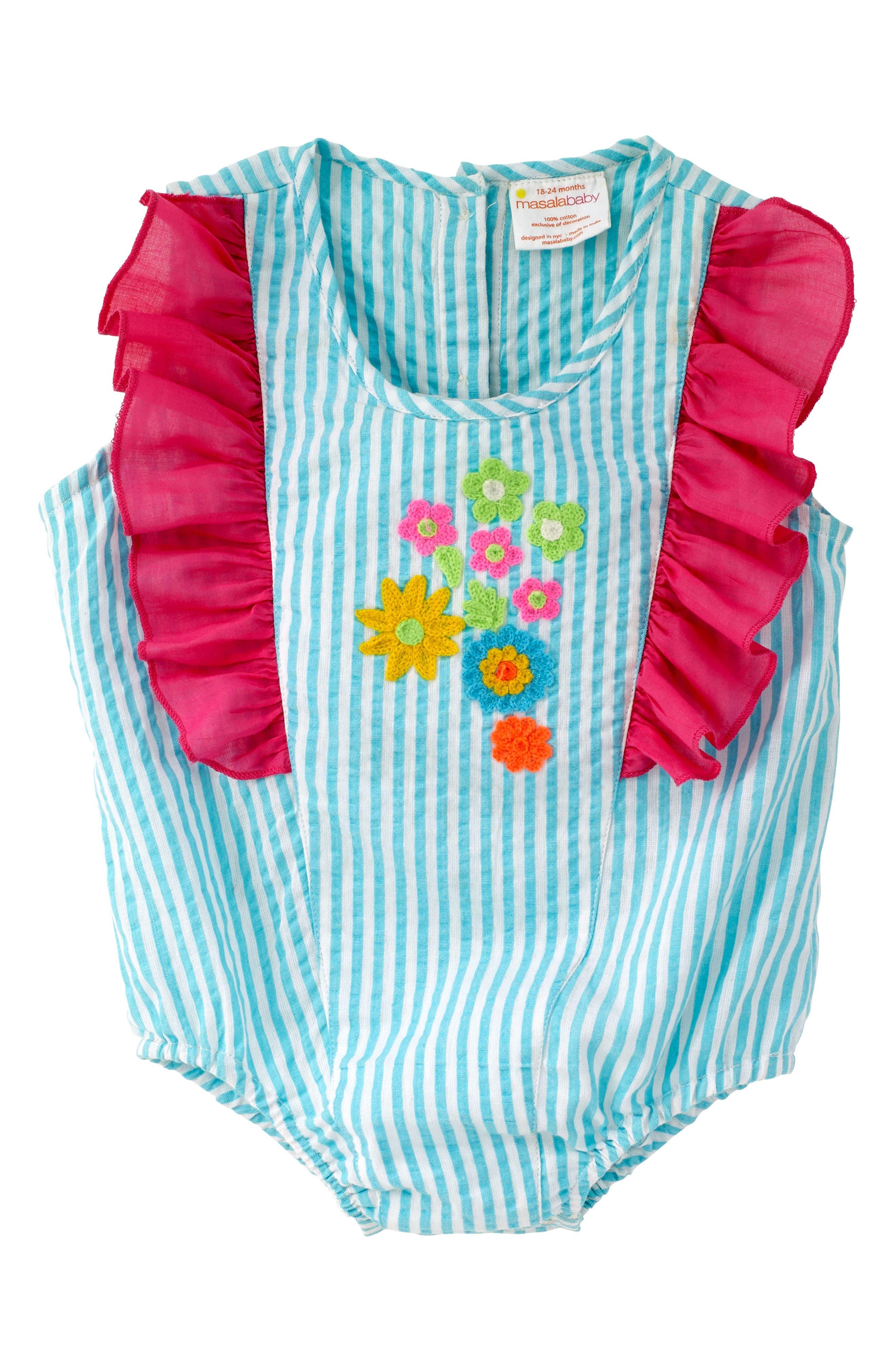 Stripe Bubble Bodysuit,                         Main,                         color, Turquoise