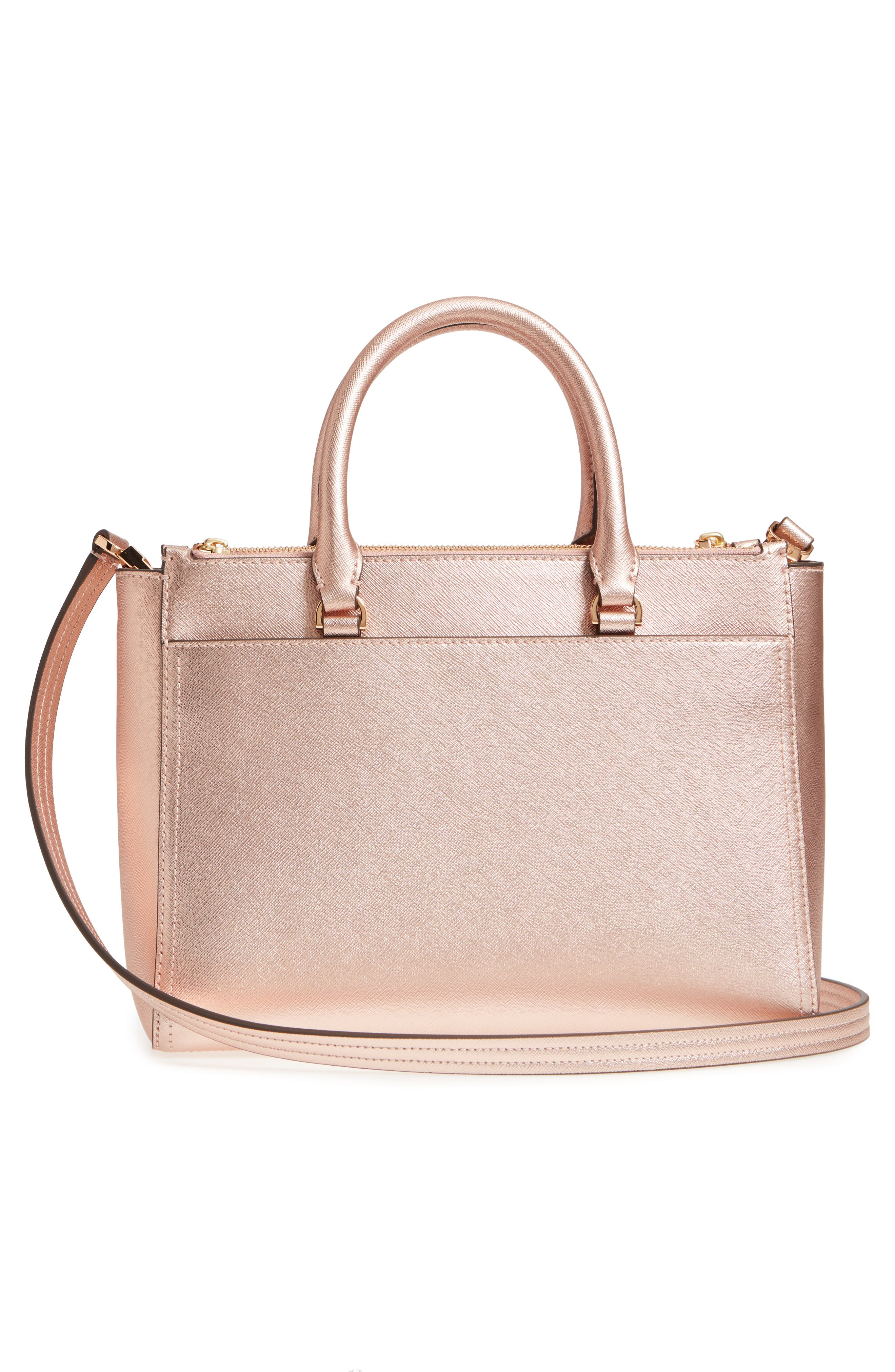 Small Robinson Double-Zip Metallic Leather Tote,                             Alternate thumbnail 3, color,                             Light Rose Gold