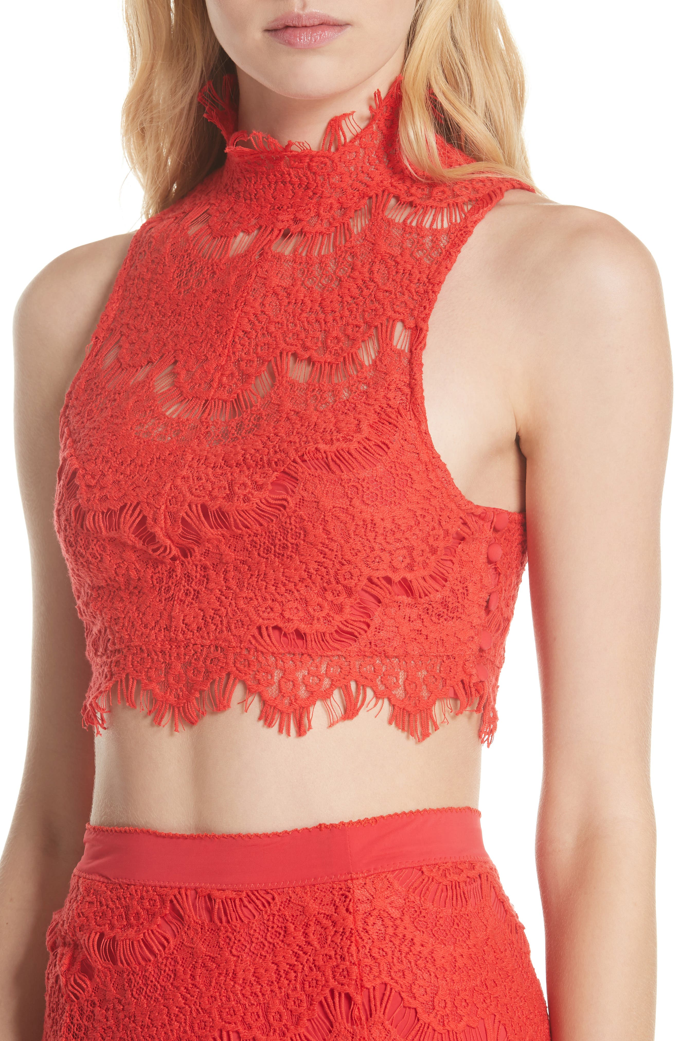 Sabina Crop Top & Skirt,                             Alternate thumbnail 4, color,                             Red