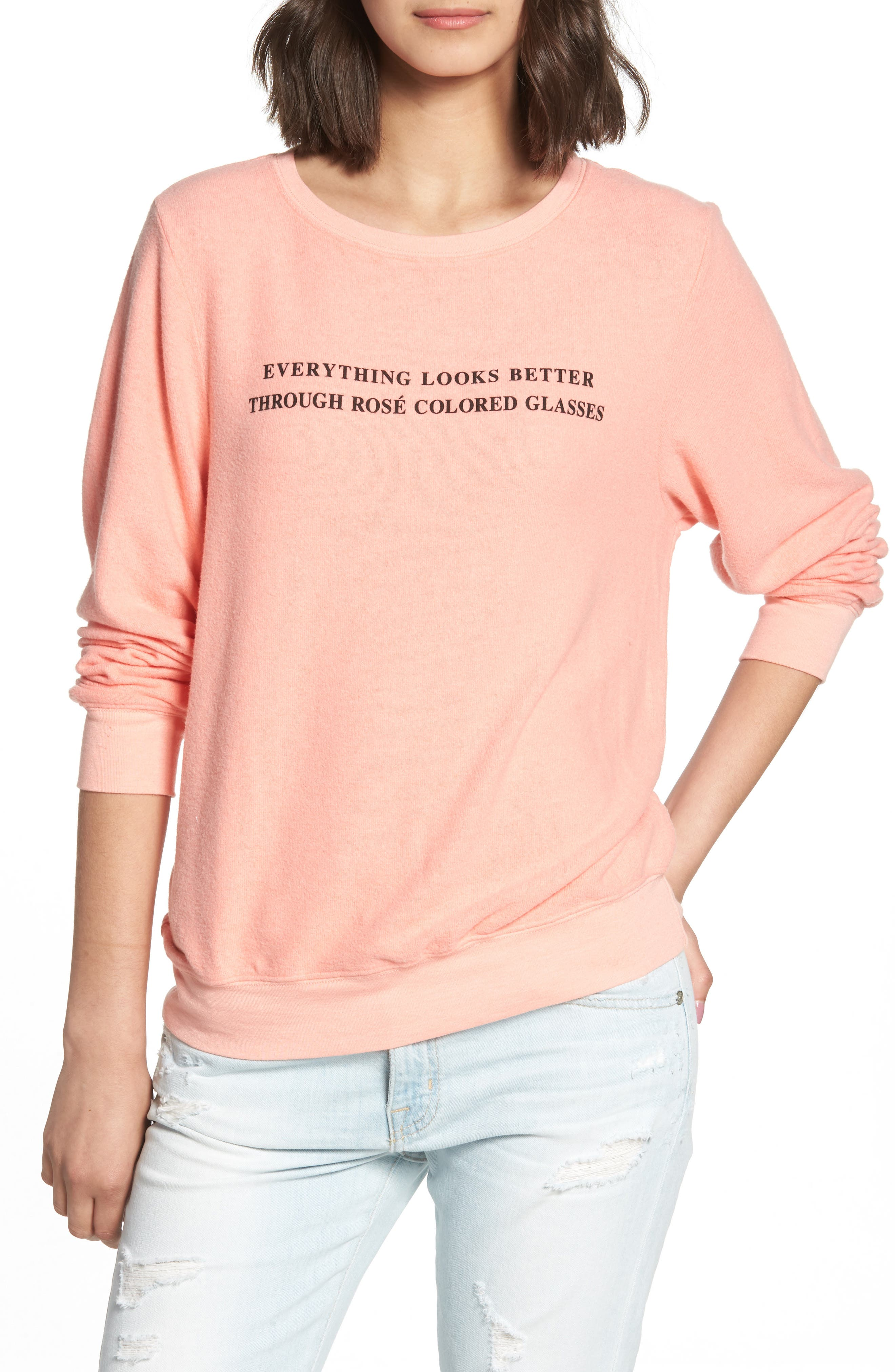 Rosé Glasses Beach Sweatshirt,                             Main thumbnail 1, color,                             Coral