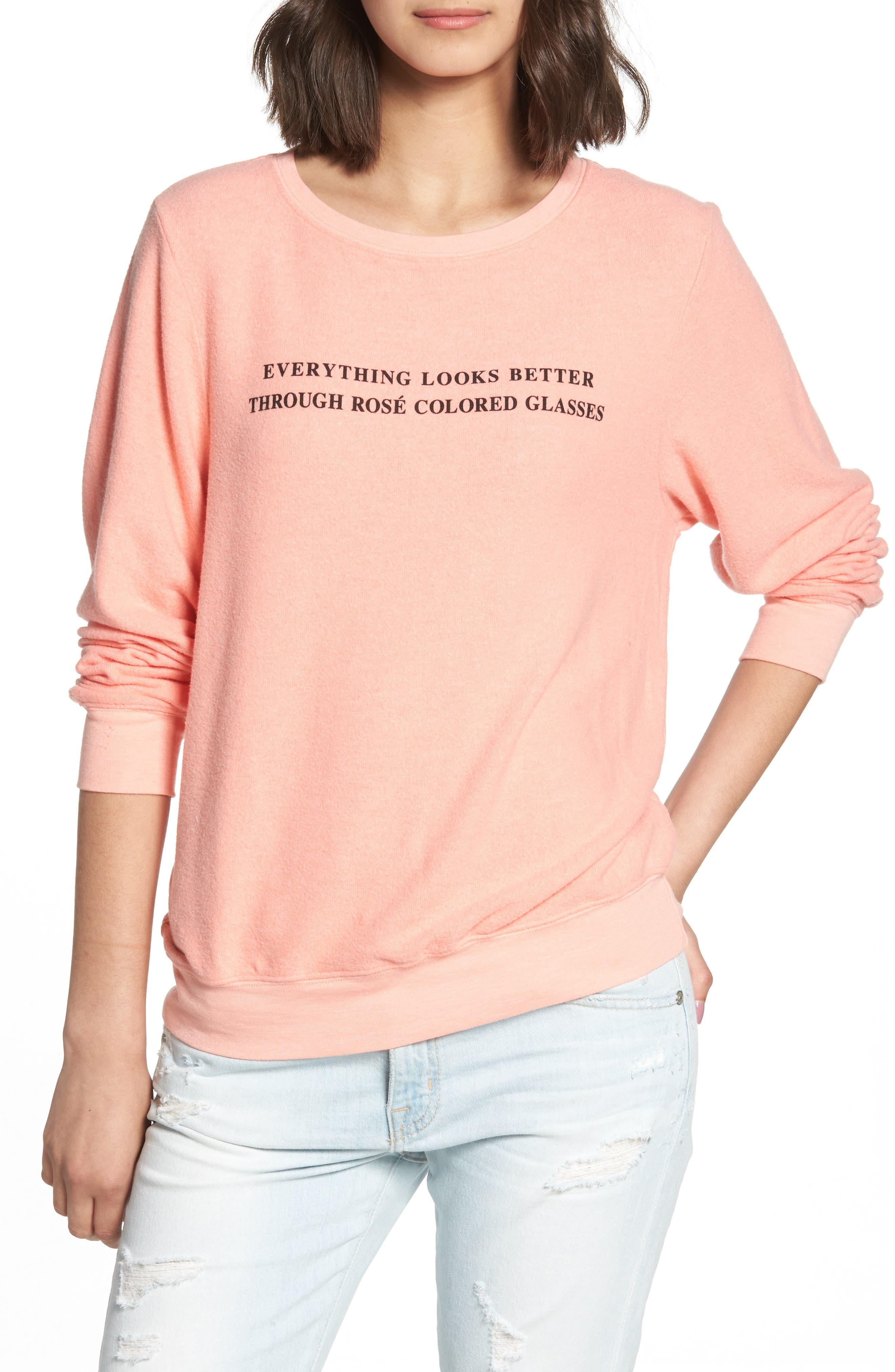 Rosé Glasses Beach Sweatshirt,                         Main,                         color, Coral