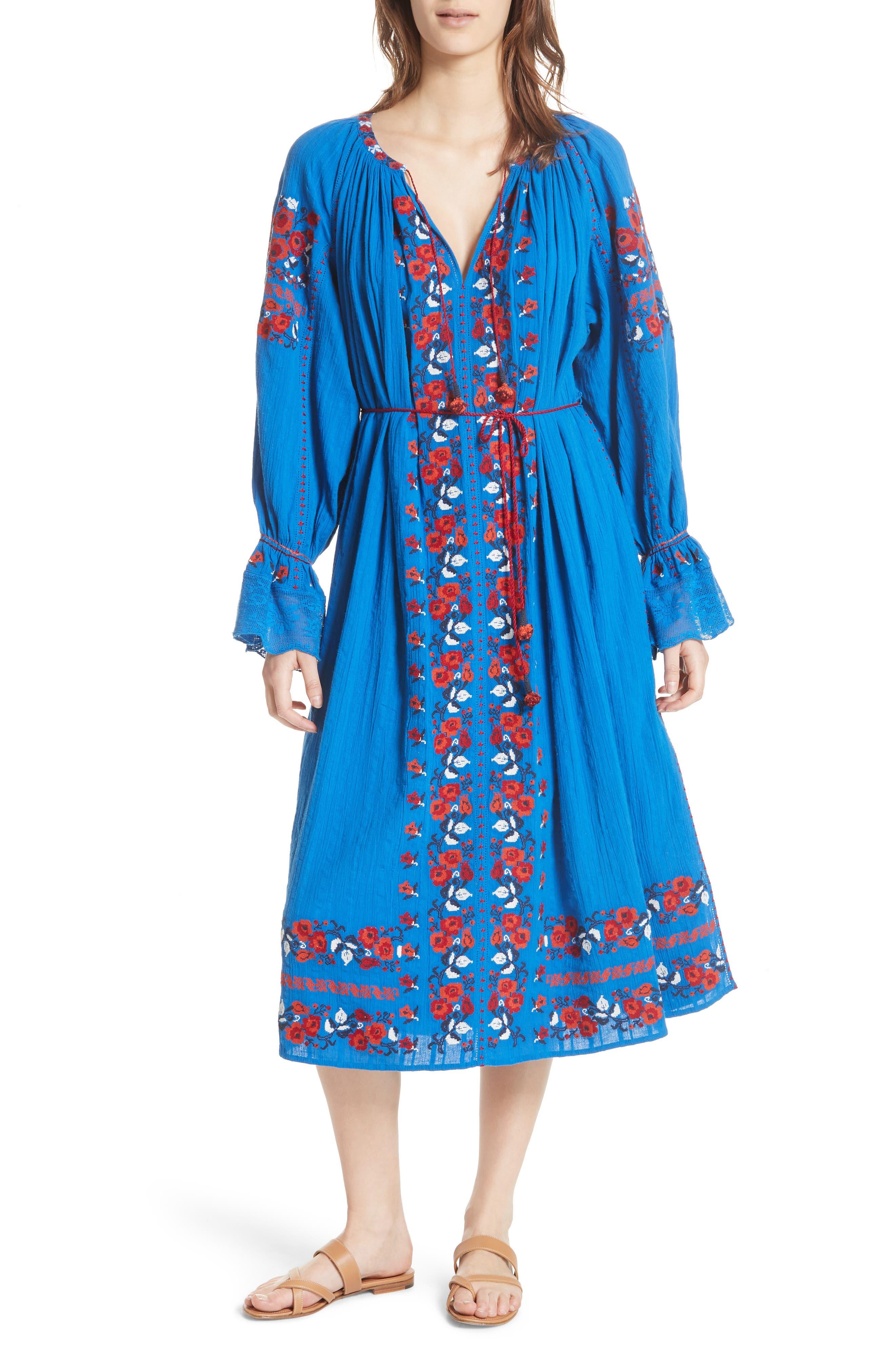 Filia Embroidered Midi Dress,                             Main thumbnail 1, color,                             Cobalt