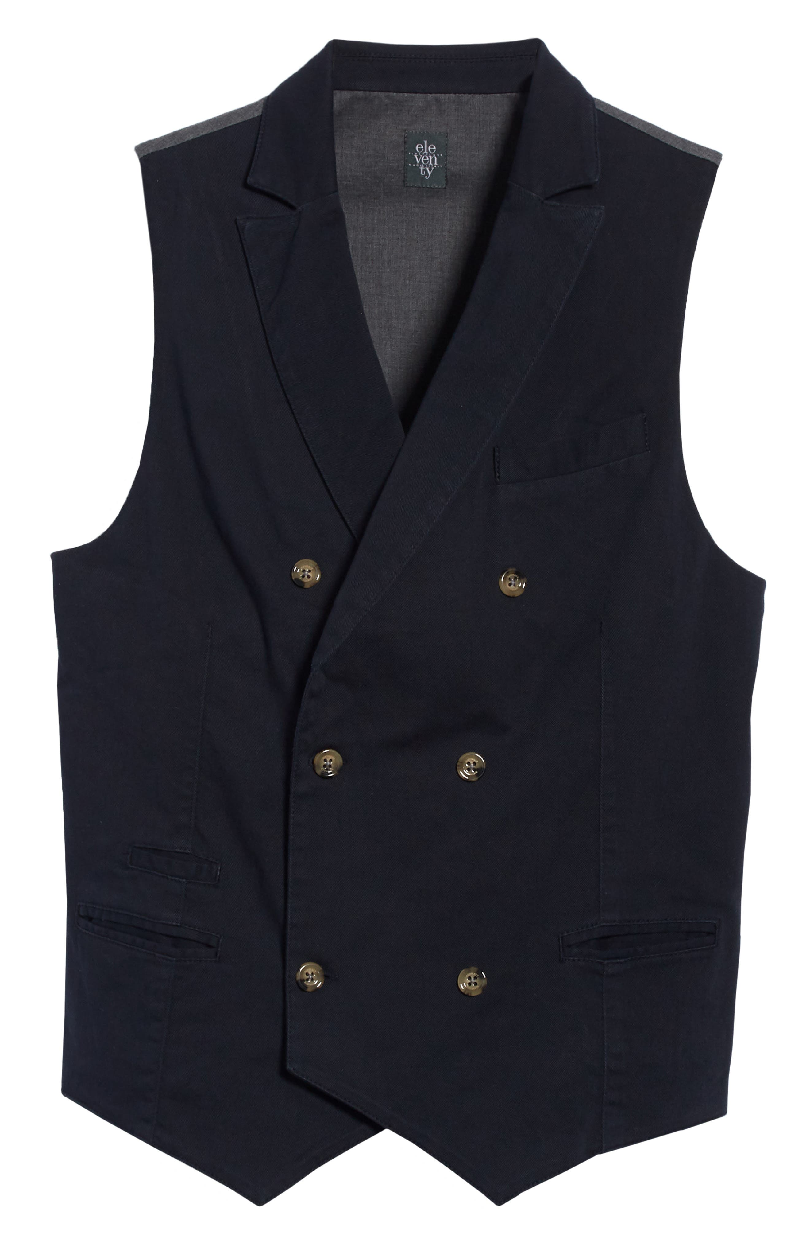 Slim Fit Stretch Cotton Twill Vest,                             Alternate thumbnail 6, color,                             Navy
