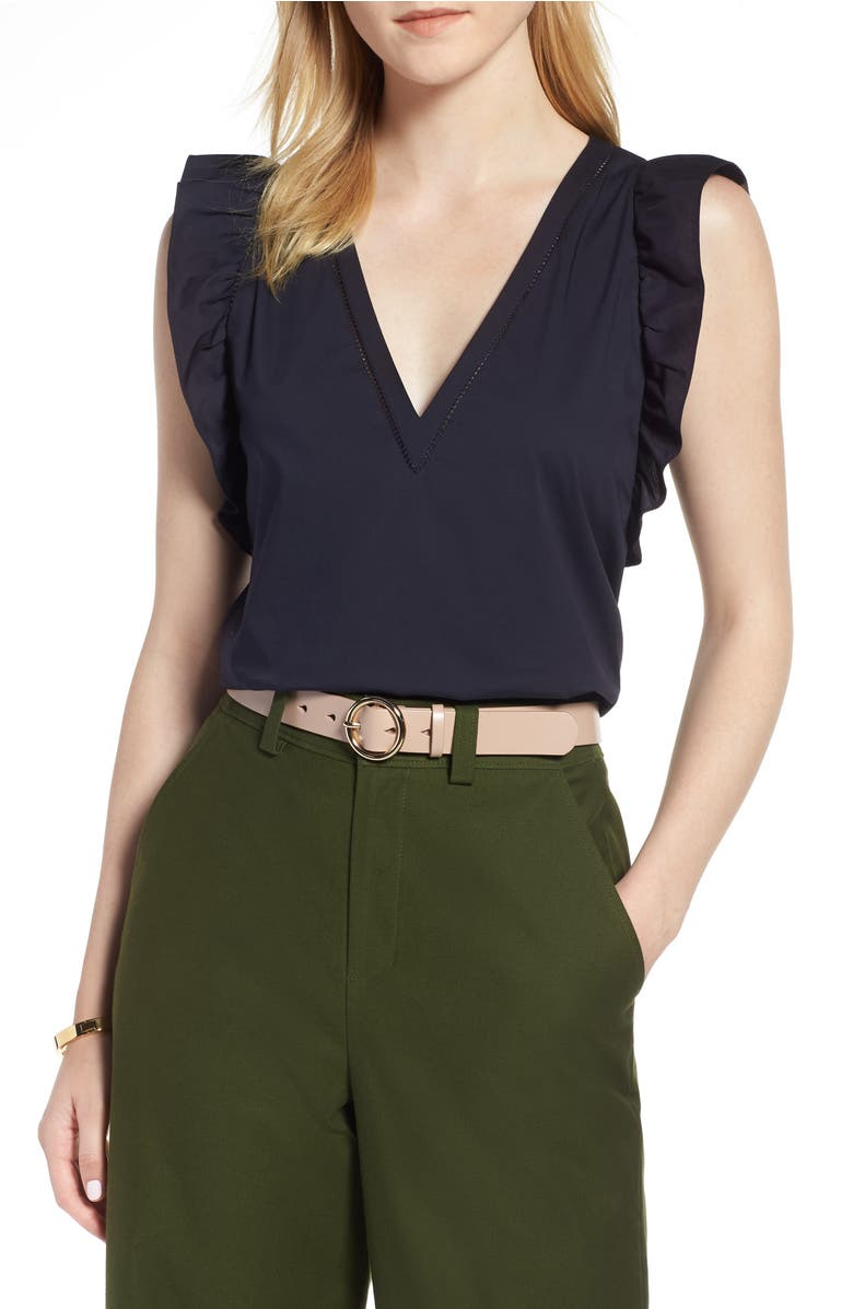 Ruffle Cotton Poplin Blend Top,                         Main,                         color, Navy Night
