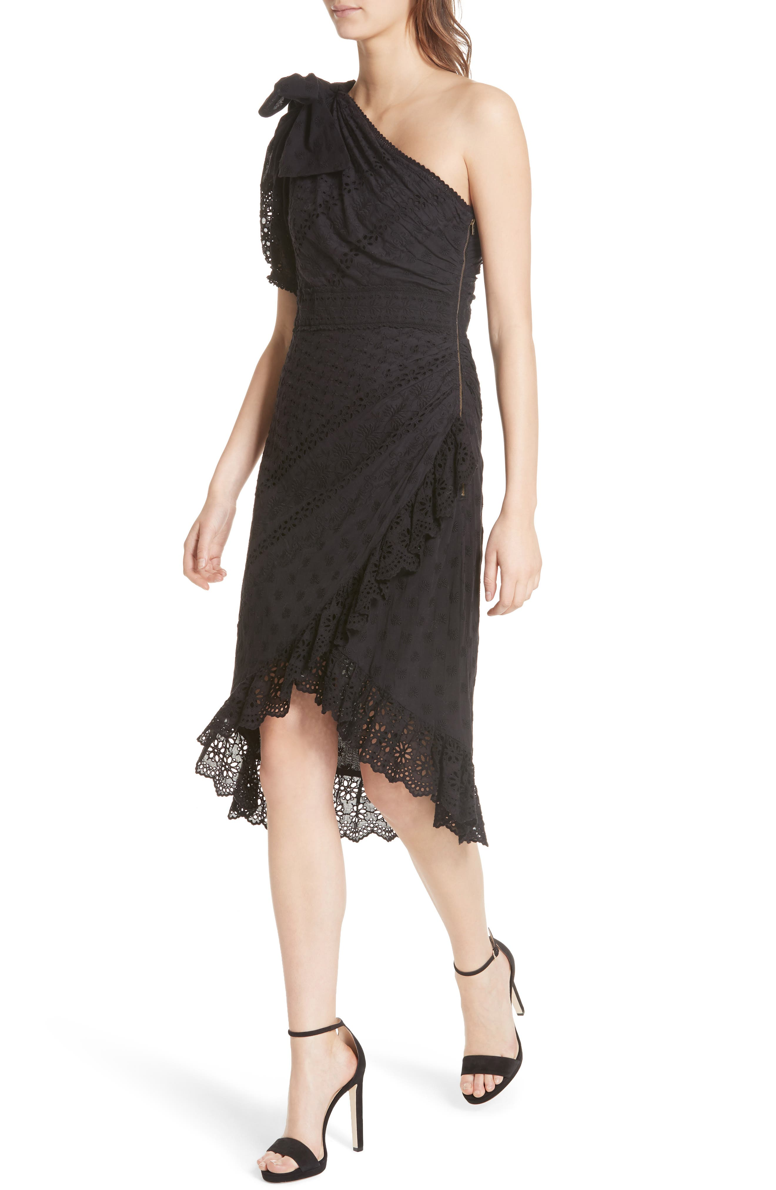 Gweneth One-Shoulder Dress,                             Alternate thumbnail 4, color,                             Noir