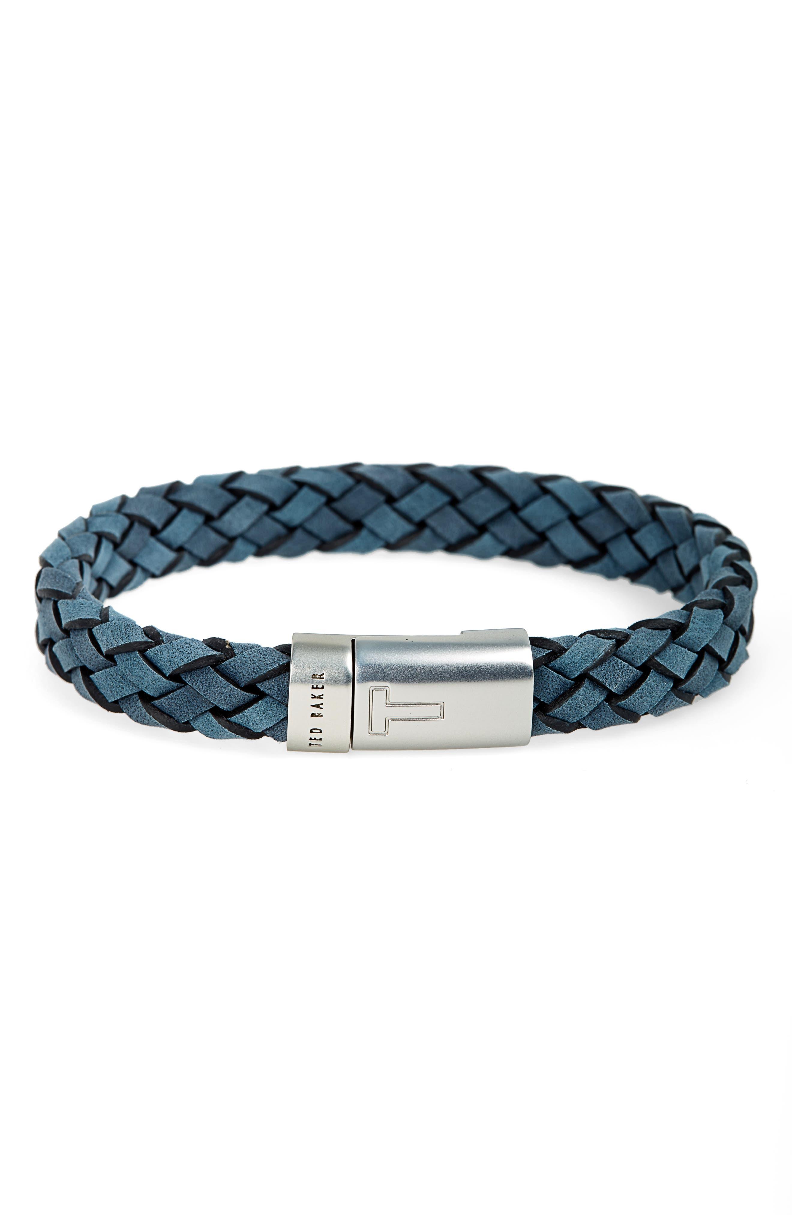 Runfast Woven Leather Bracelet,                             Main thumbnail 1, color,                             Navy