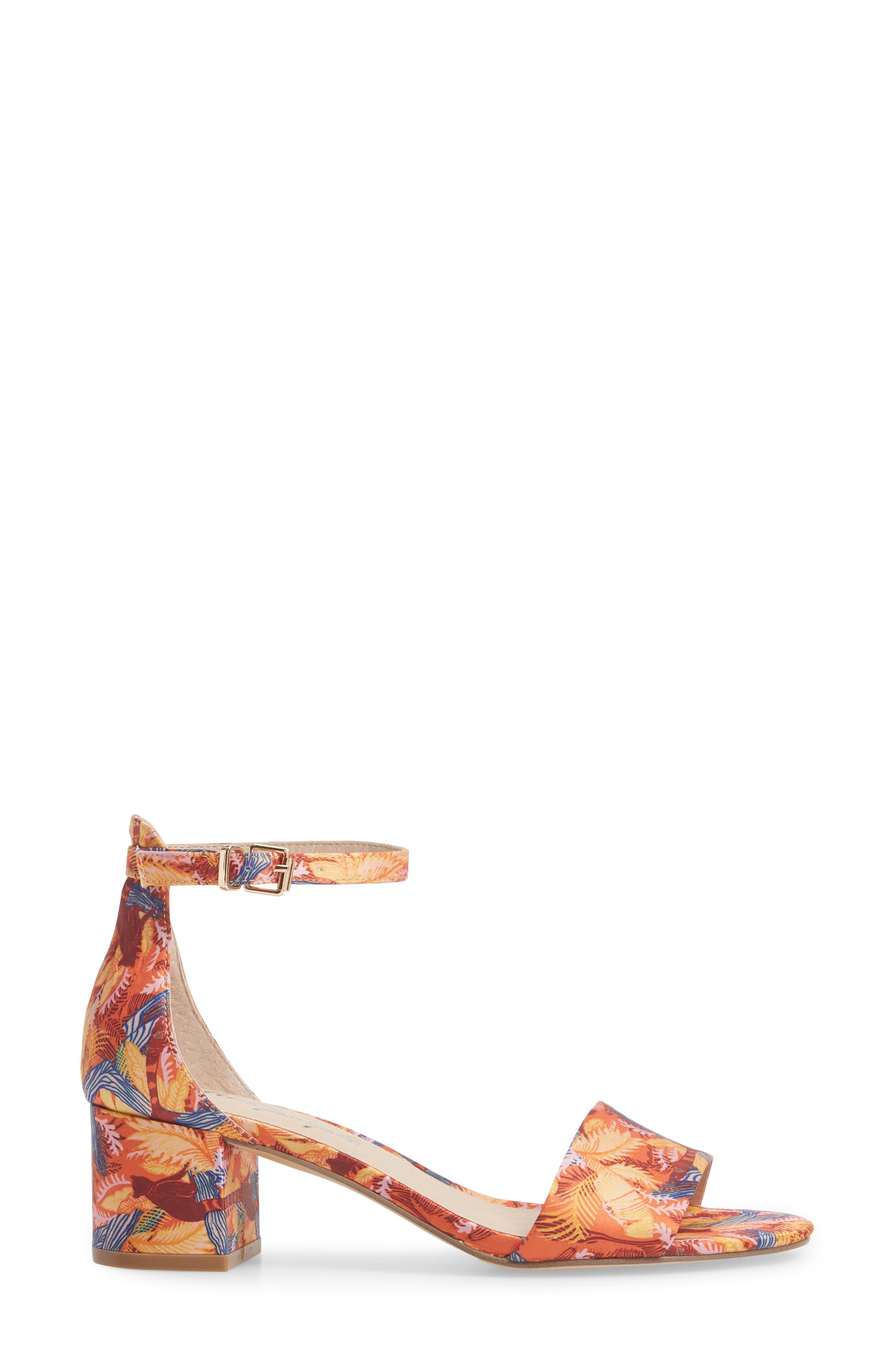 Marigold Block Heel Sandal,                             Alternate thumbnail 3, color,                             Orange Combo