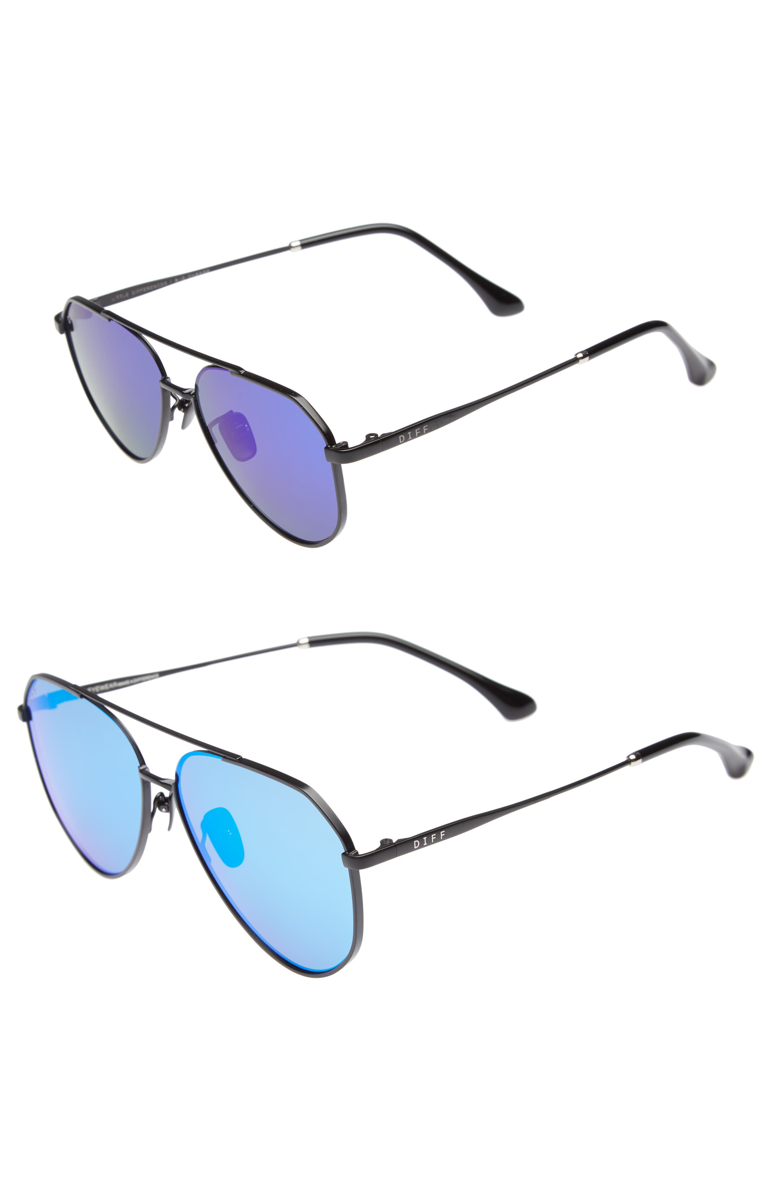 Mommy & Me Dash 2-Pack Aviator Sunglasses,                             Alternate thumbnail 2, color,                             Black/ Blue