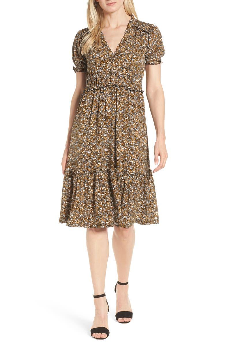 Smocked Ruffle Midi Dress