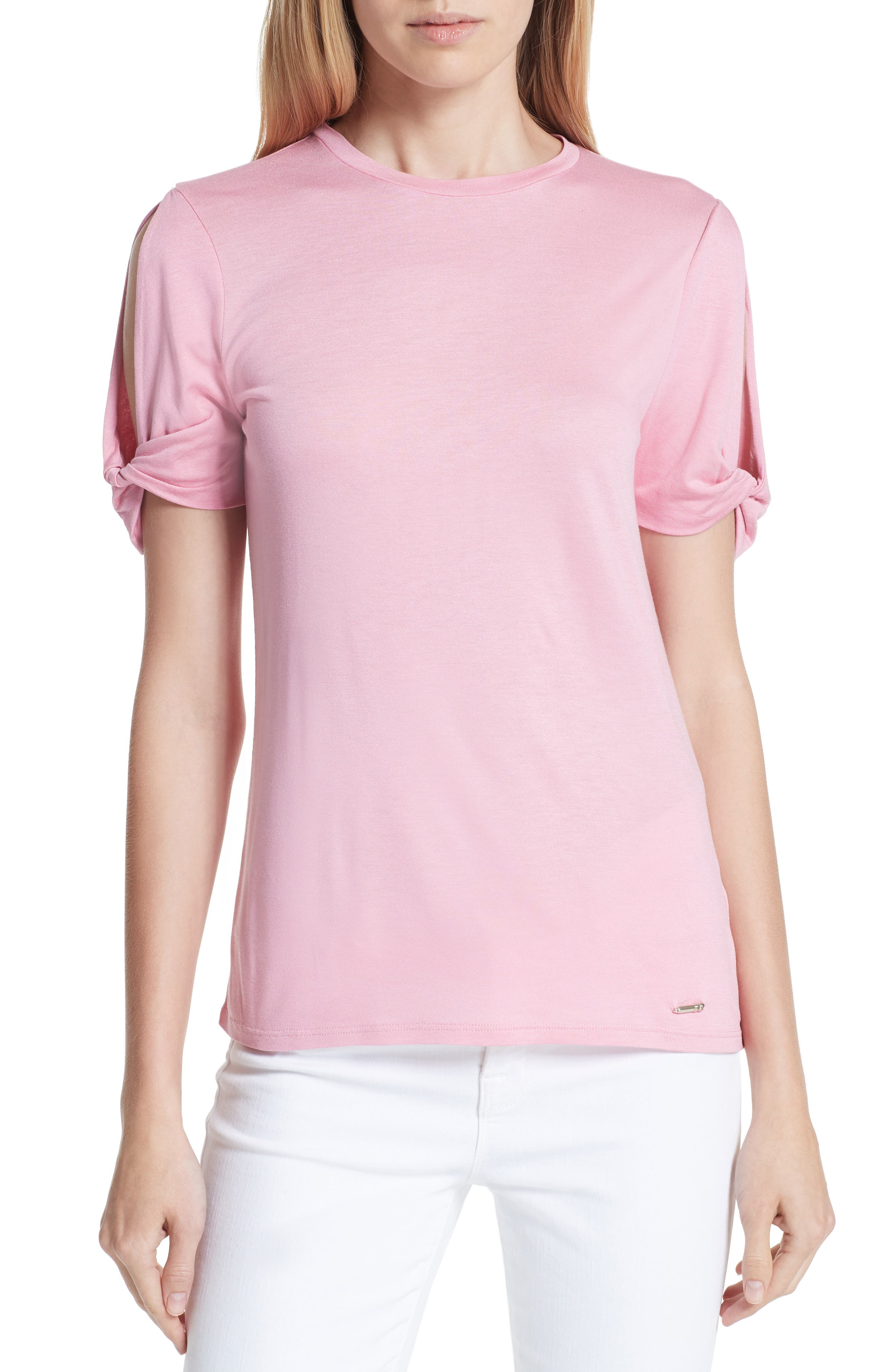 Narva Colour by Numbers Twist Cuff Shirt,                         Main,                         color, Pink