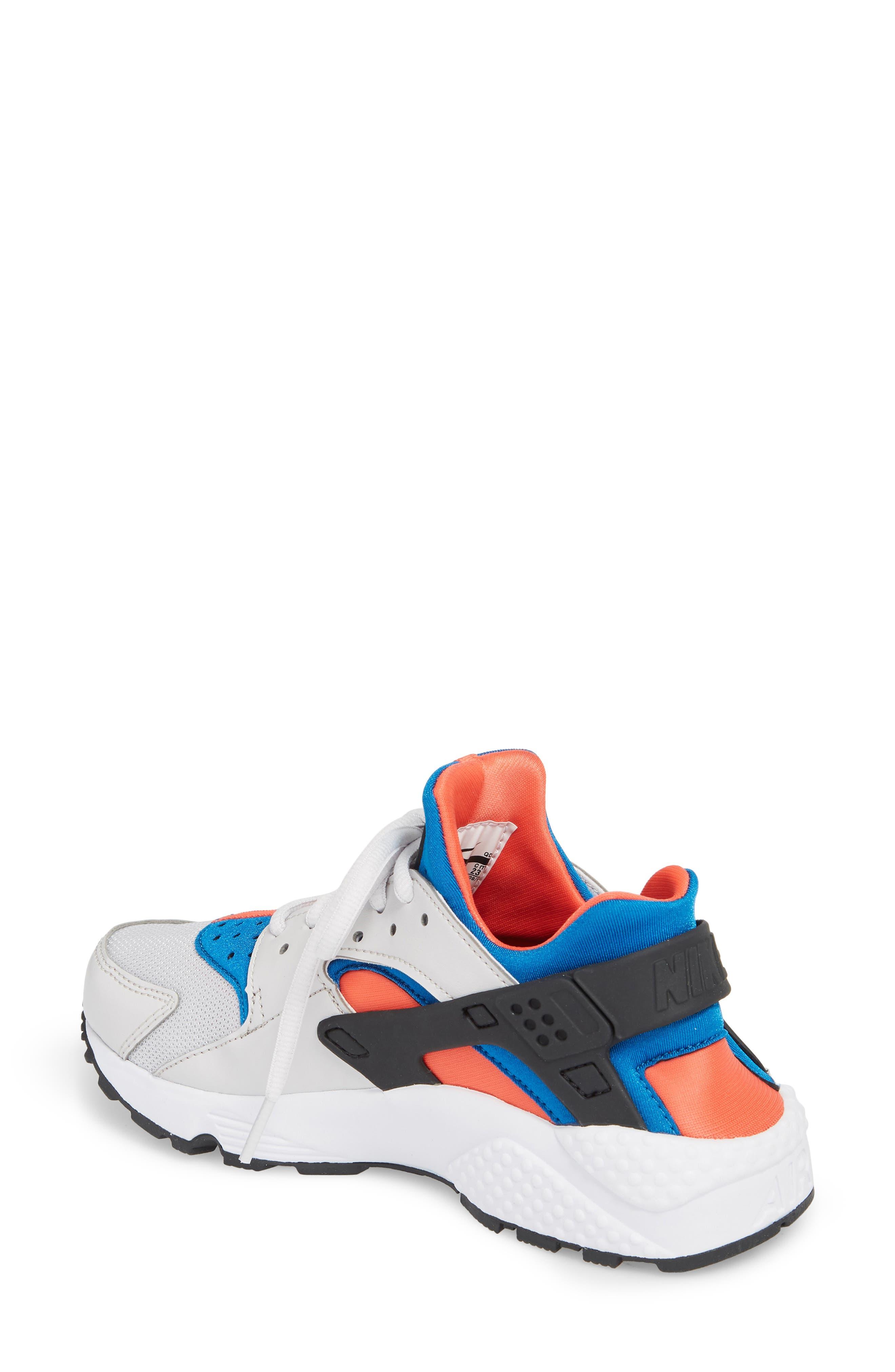 Air Huarache Run Sneaker,                             Alternate thumbnail 2, color,                             Grey/ Black/ Coral/ Nebula