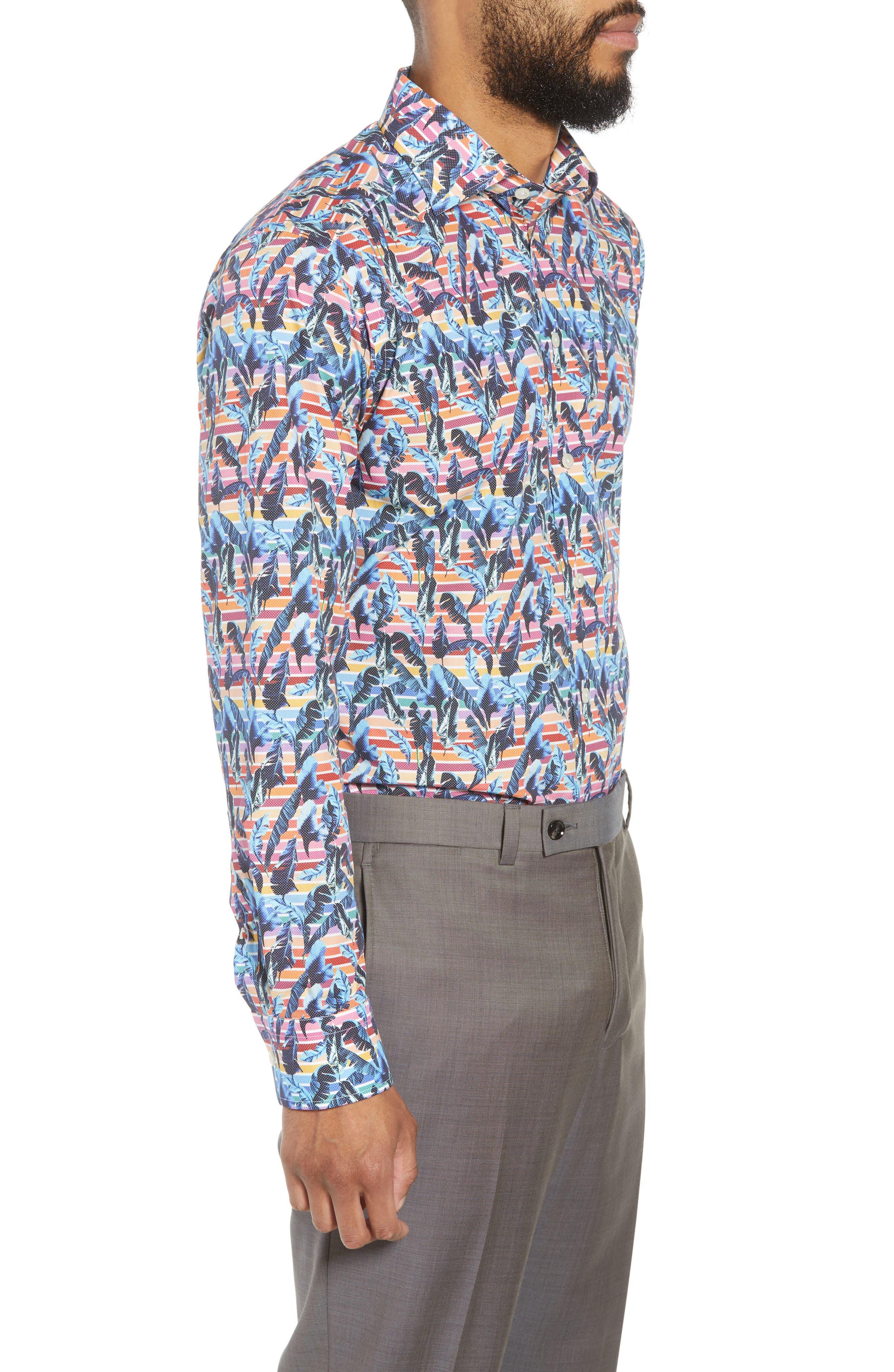 Slim Fit Print Dress Shirt,                             Alternate thumbnail 4, color,                             Red/ Blue