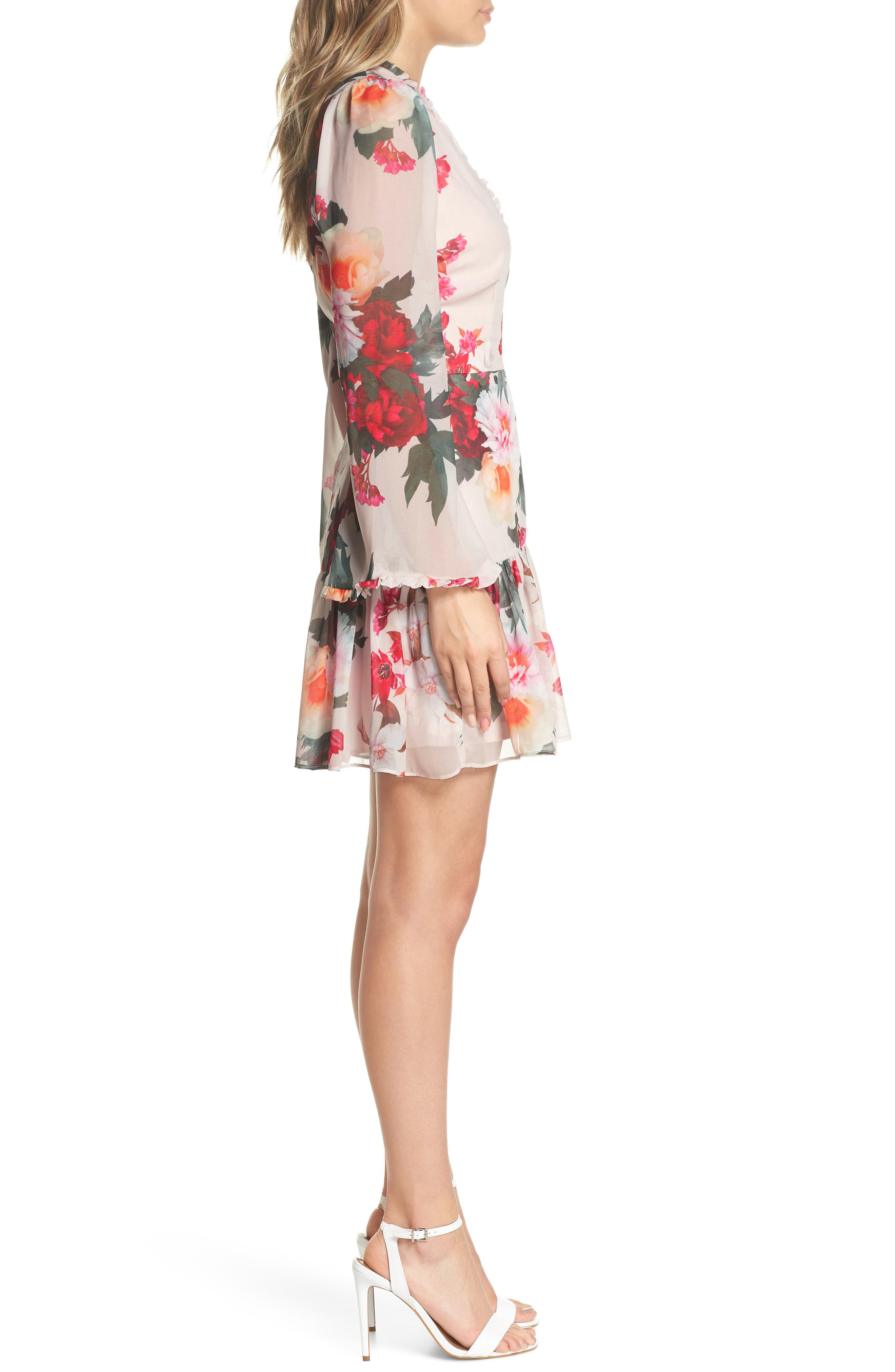 Rosa Floral Chiffon Dress,                             Alternate thumbnail 3, color,                             Print